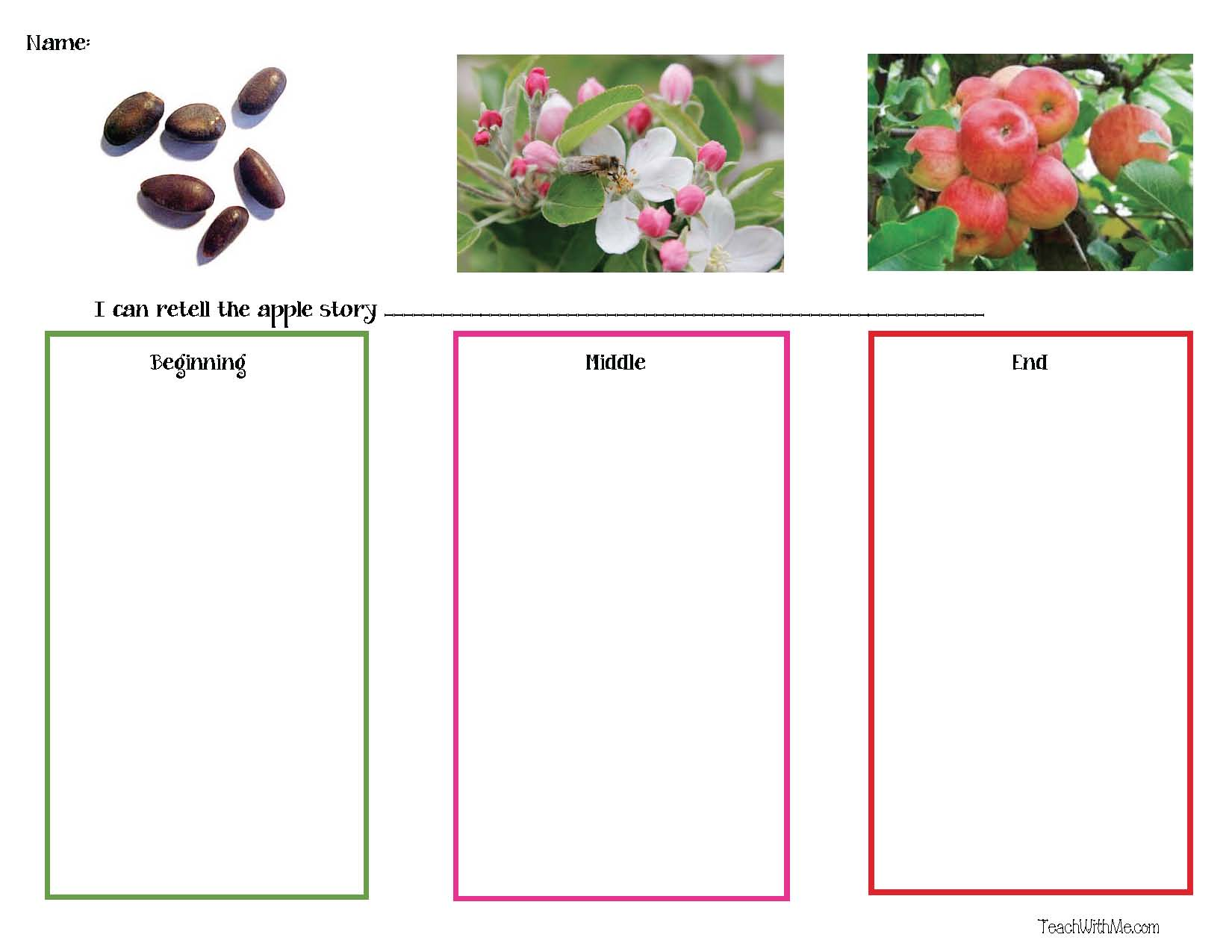 free graphic organizers, graphic organizers, apple activities, pumpkin activities, common core apples, common core pumpkins, beginning middle and end activities, retelling a story activities