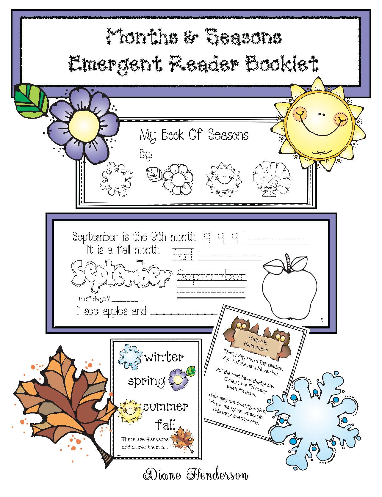 seasons activities, emergent readers, posters, calendar activities