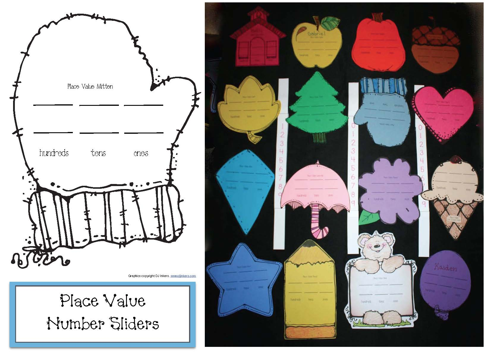 mitten activities, place value activities,mitten number cards, 10 frames, 10 frame templates, mitten ten frames, ten frames, mitten 10 frames, winter word wall, winter games, time games, math games, mitten clocks, digital time activities, time to the hour activities, analog time activities, dime to the half hour activities, graphic organizers, mitten graphic organizers, skip counting by 2s activities, mitten math,