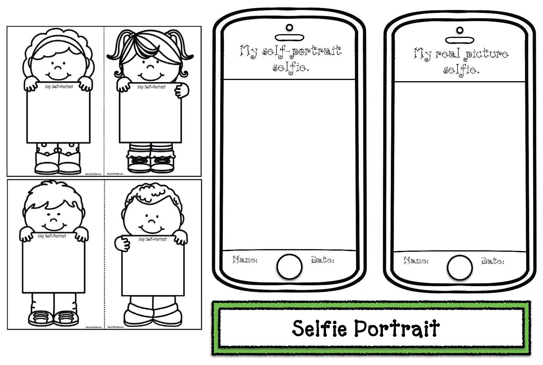 selfie portraits, back to school activities, back to school memory books, back to school writing prompts