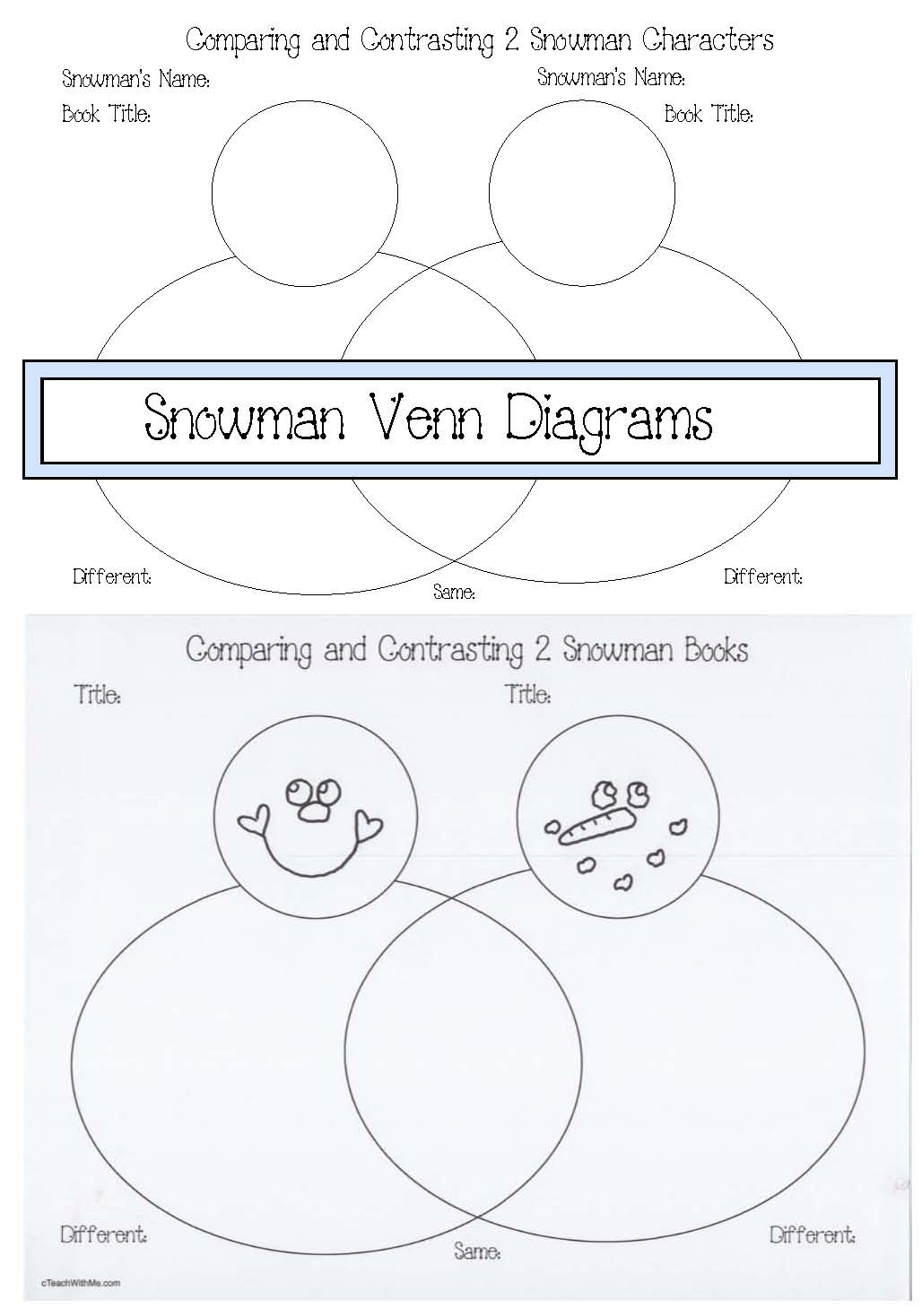snowman activities, snowman venn diagrams, comparison and contrast activities, venn diagram activities, color activities, days of the week activities, graphing activities, end punctuation activities, punctuation activities, capitalization, color word activities, days of the week word activities