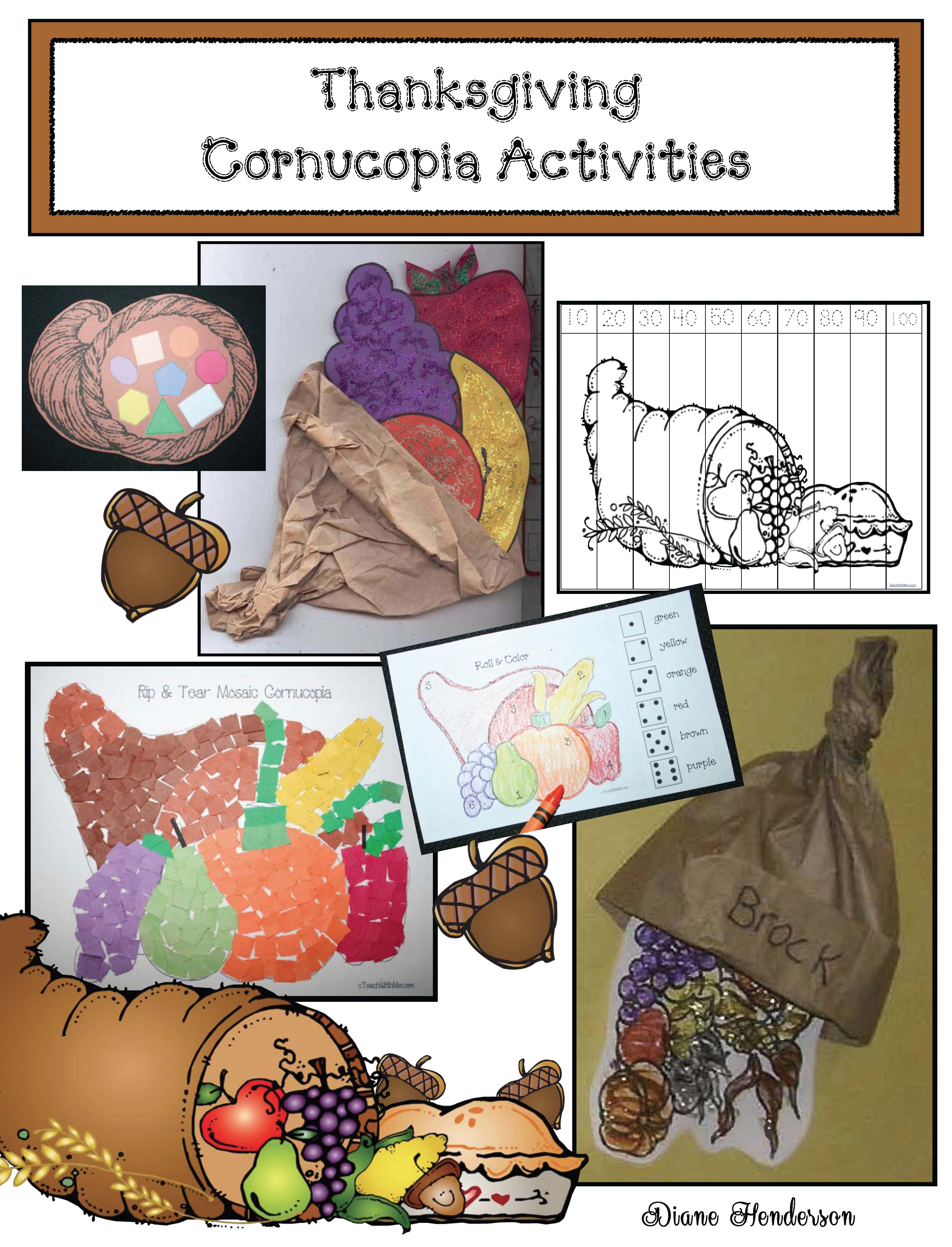 Thanksgiving activities, thanksgiving crafts, thanksgiving bulletin boards, cornucopia crafts, cornucopia activities