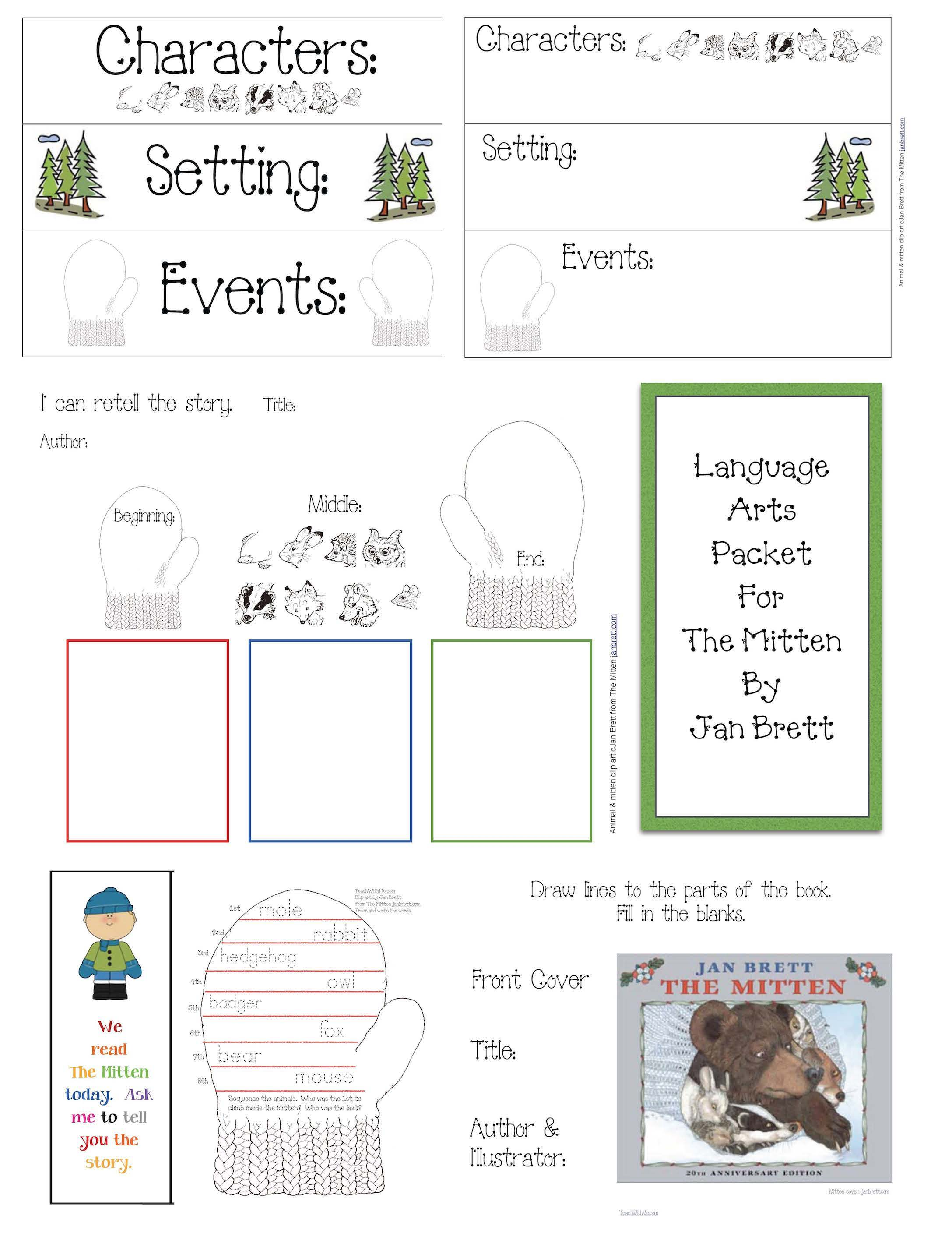 mitten activities, mitten crafts, activities to go with the mitten, activities to go with jan bretts the mitten, the mitten by jan brett activities, re telling a story activity, literacy packet for the mitten, bookmarks, free winter bookmarks, mitten bookmarks, mitten lessons