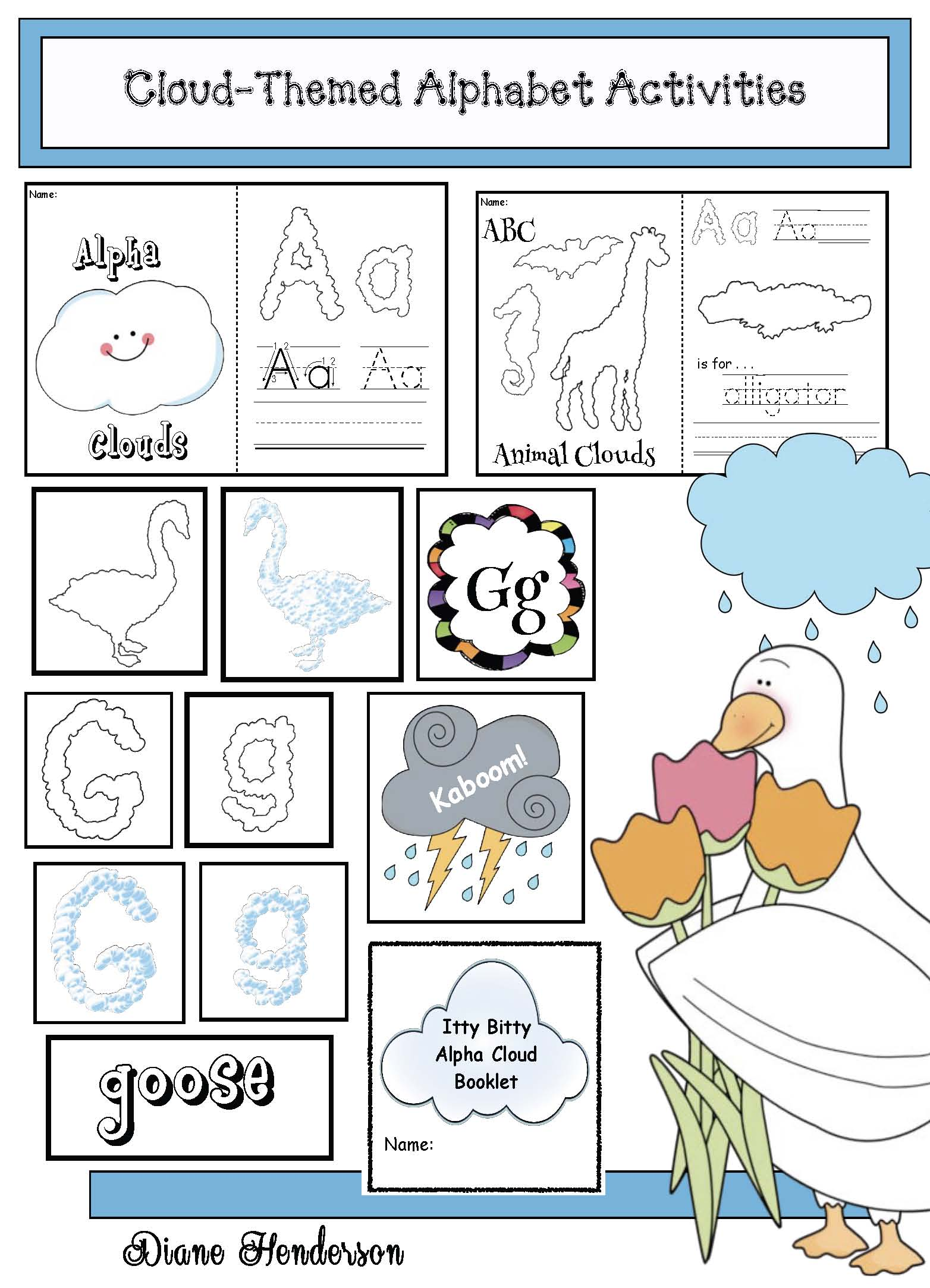 It looked like spilt milk activities, cloud activities, cloud centers, cloud crafts, alphabet activitities, alphabet games, alphabet centers, animal alphabet
