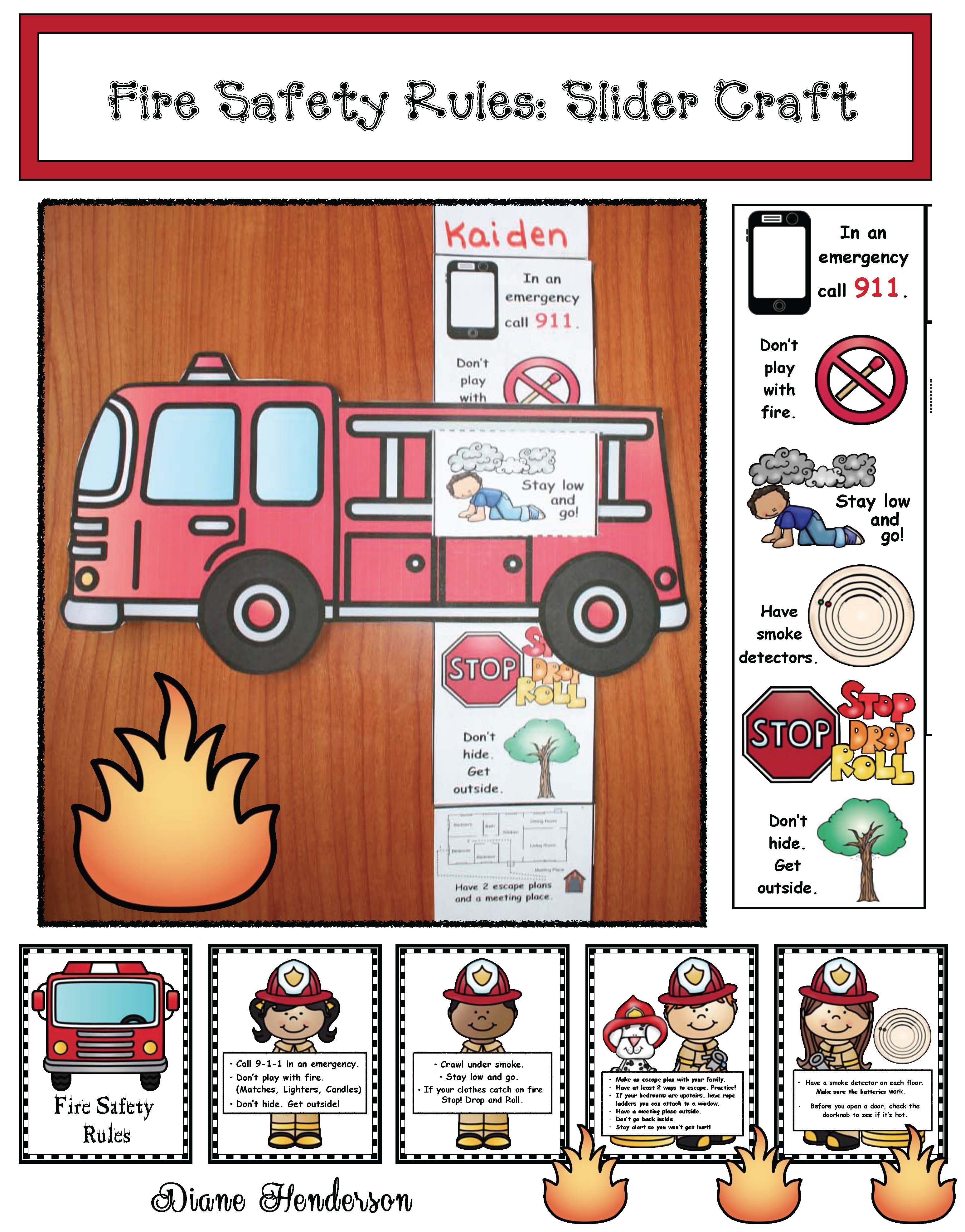 cover fire safety rules slider craft