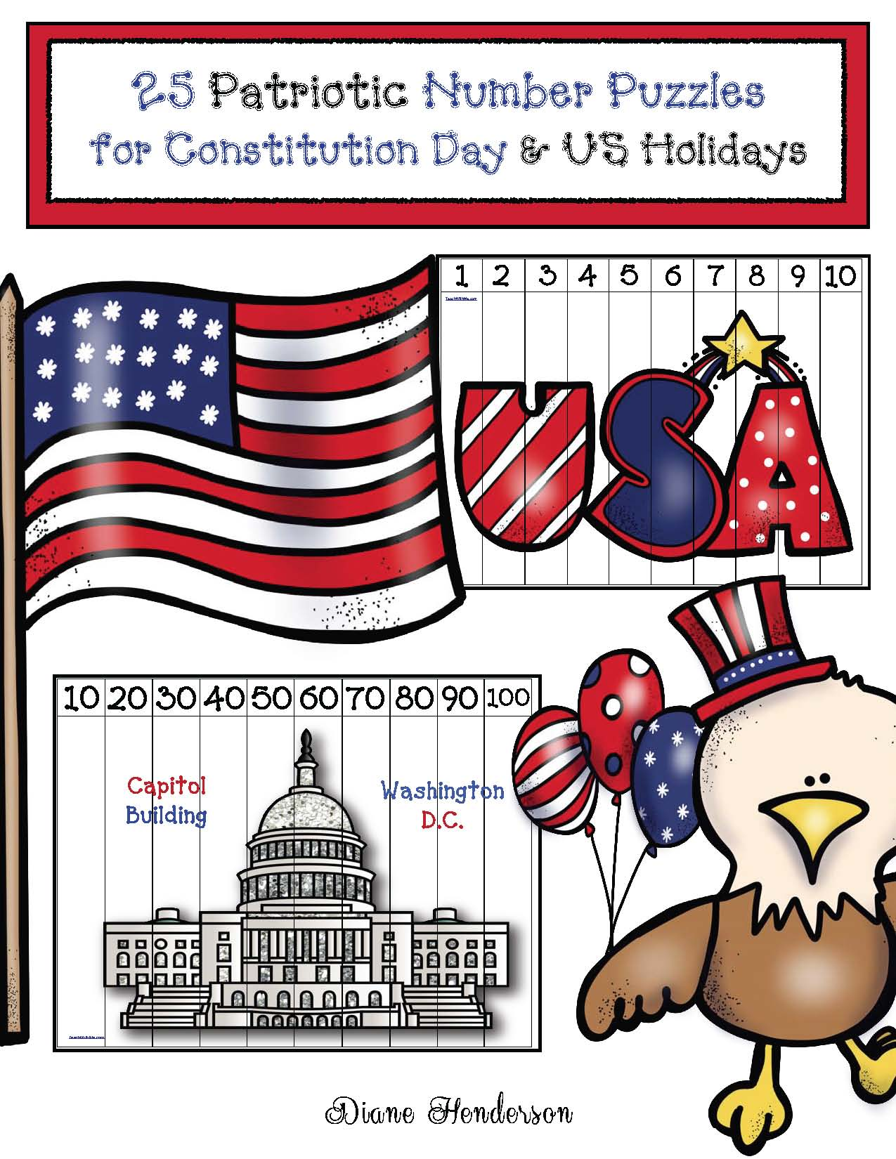 25 patriotic number puzzles for constitution day, constitution day activities, patriotic holiday activities, number puzzles, constitution day bulletin boards,