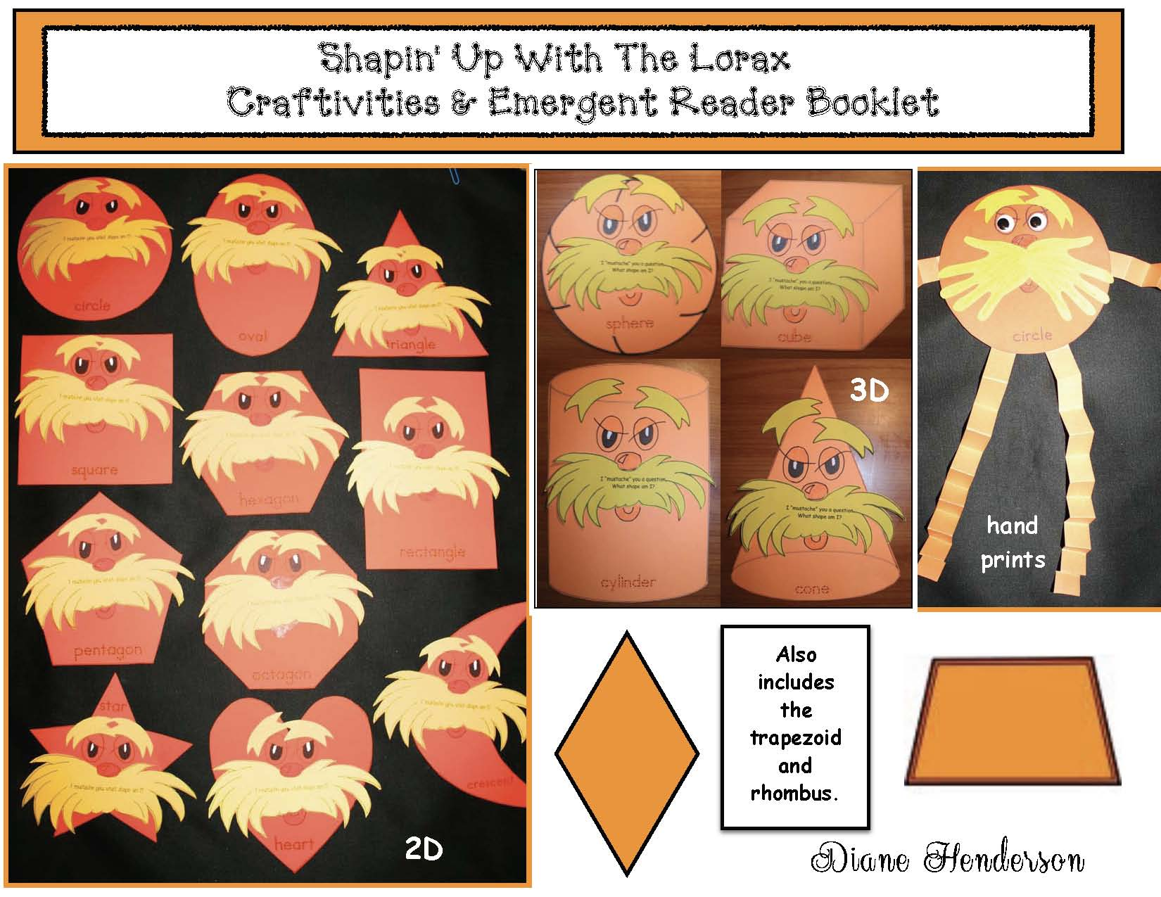 2D shape crafts, 2D shape activities, 2D shape puzzles, Dr. Seuss activities, Lorax activities, Seuss crafts, Lorax crafts, 3D shape activities, 3D shape crafts, 3D shape puzzles, 2D shape centers, 3D shape centers, 2D shape games, 3D shape games
