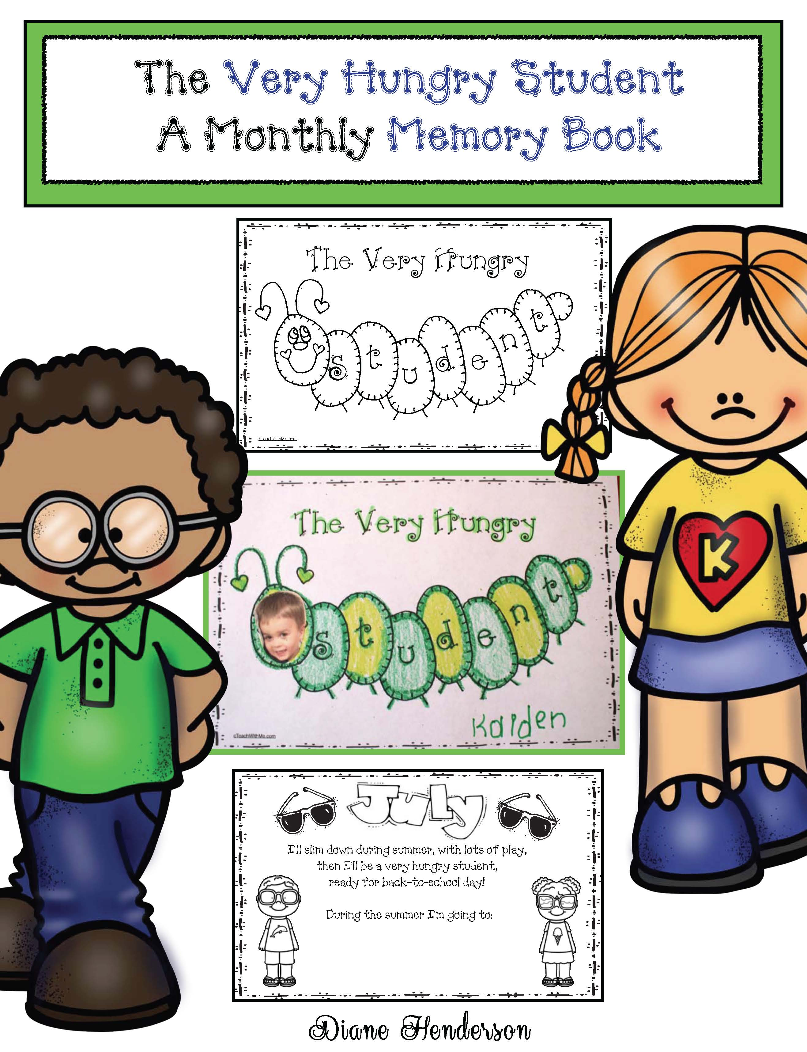 the very hungry student, school memory books, monthly memory books, writing prompts for early elementary