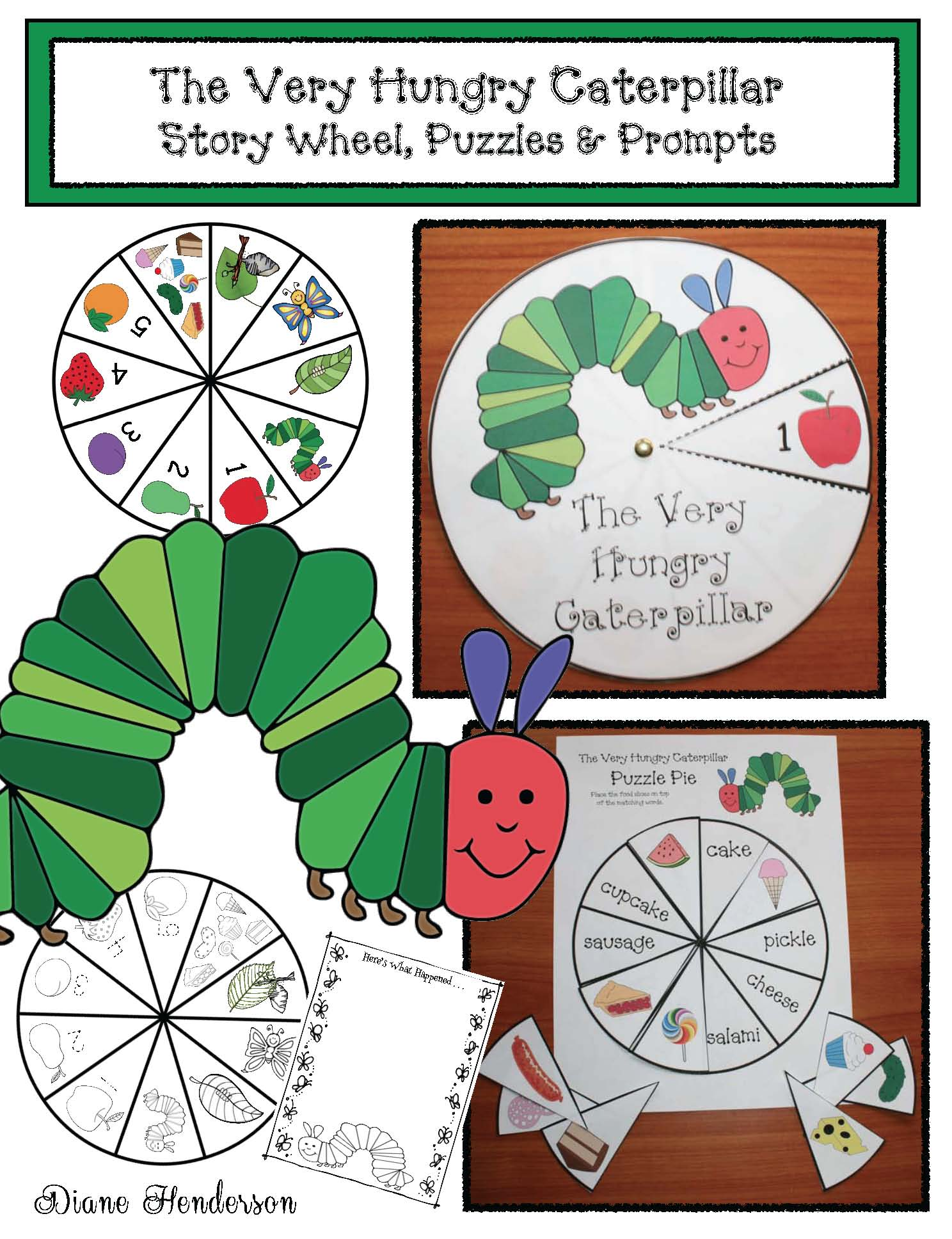 very hungry caterpillar crafts, very hungry caterpillar activities, very hungry caterpillar story elements, fix the sentence activities, word work for spring, story wheels