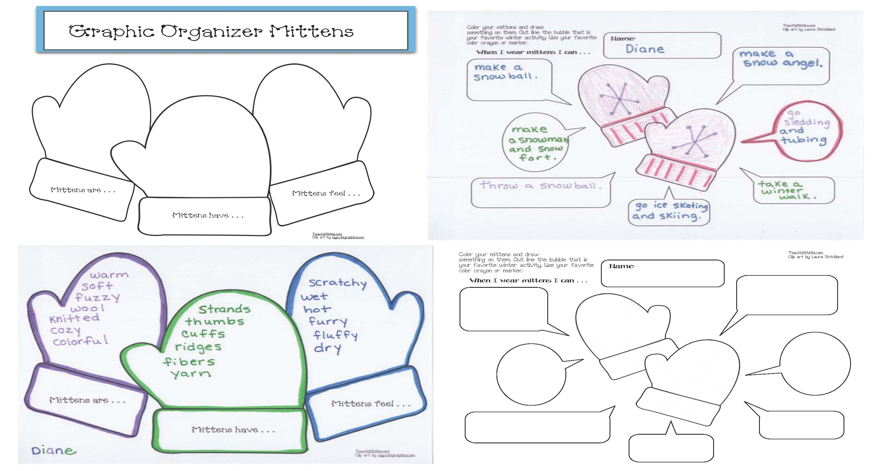 mitten activities, mitten number cards, 10 frames, 10 frame templates, mitten ten frames, ten frames, mitten 10 frames, winter word wall, winter games, time games, math games, mitten clocks, digital time activities, time to the hour activities, analog time activities, dime to the half hour activities, graphic organizers, mitten graphic organizers, skip counting by 2s activities, mitten math,