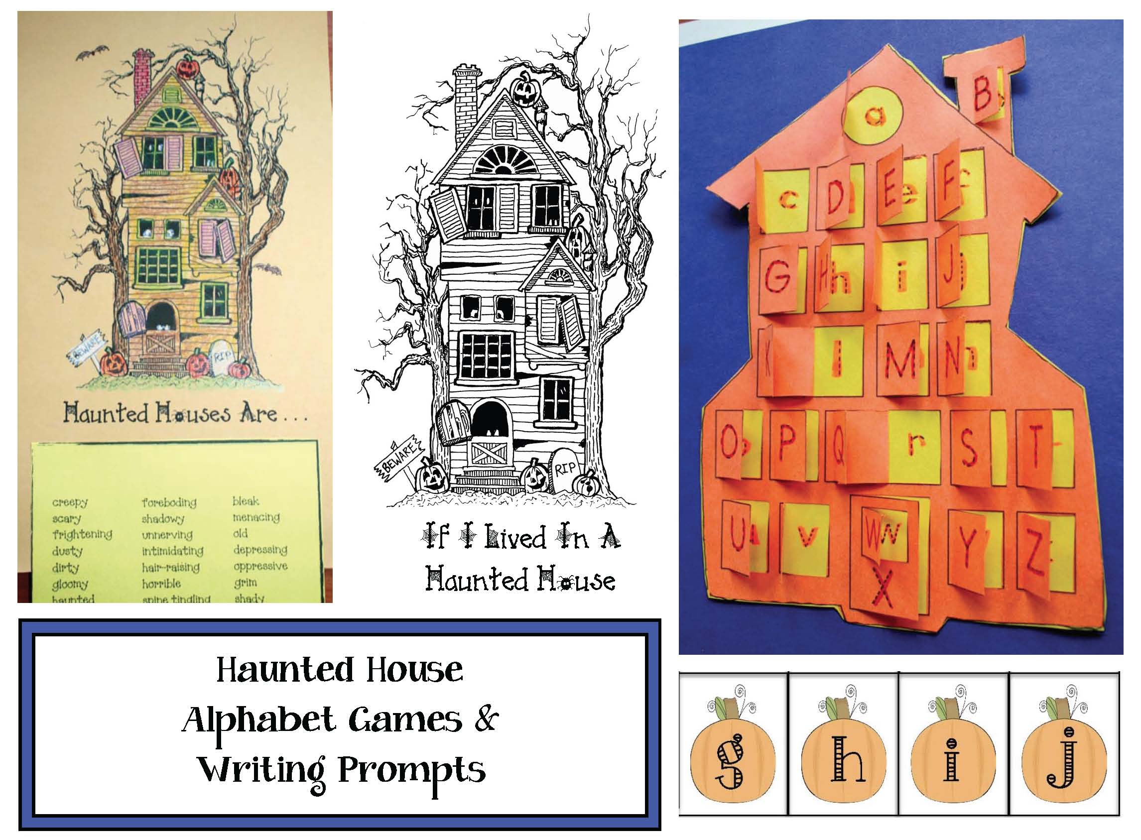 haunted house activities, haunted house writing prompts, words that describe a haunted house, alphabet games, haunted house games, Halloween games, Daily 5 for October, adjective activities, haunted house writing prompts, writing prompts for october