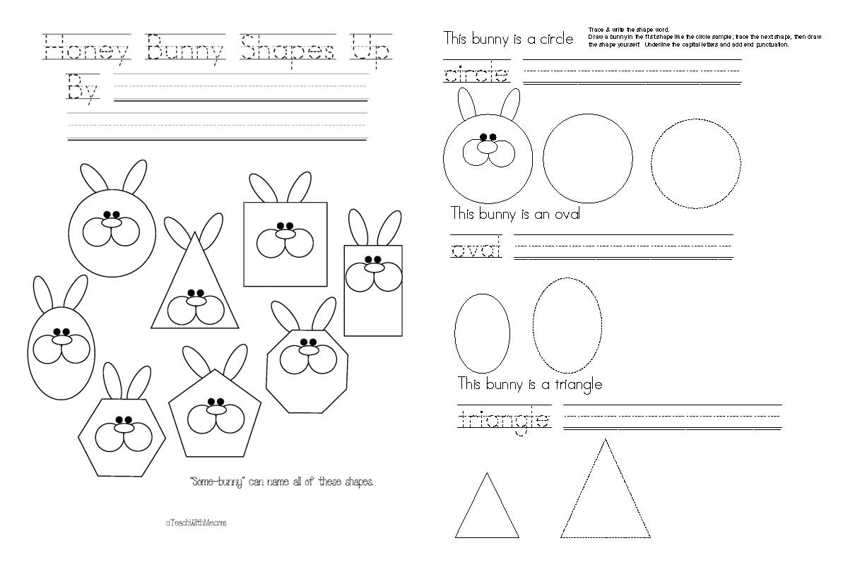 honey bunny shapes up emergent shape reader,bunny crafts, spring crafts, spring activities, common core spring, common core shapes, shape activities, shape posters, shape booklet, shape crafts, bunny crafts, shape worksheets, attributes worksheets, shape graph, graphing favorite shapes, bunny shapes, shape animals,
