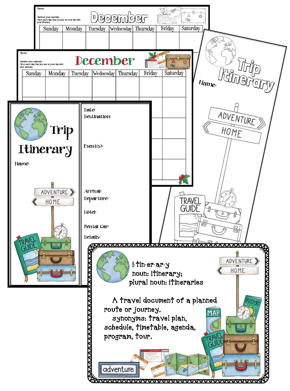 Christmas Around The World activities, Xmas around the world activities, Christmas crafts, geography activities for early elementary, gingerbread activities, passports for school, geography passports, passport craft, passport stamps, suitcase stamps, suitcase stickers, travel stickers, passport stamps, maps for students to color, maps for students to label, world maps, December writing prompts,