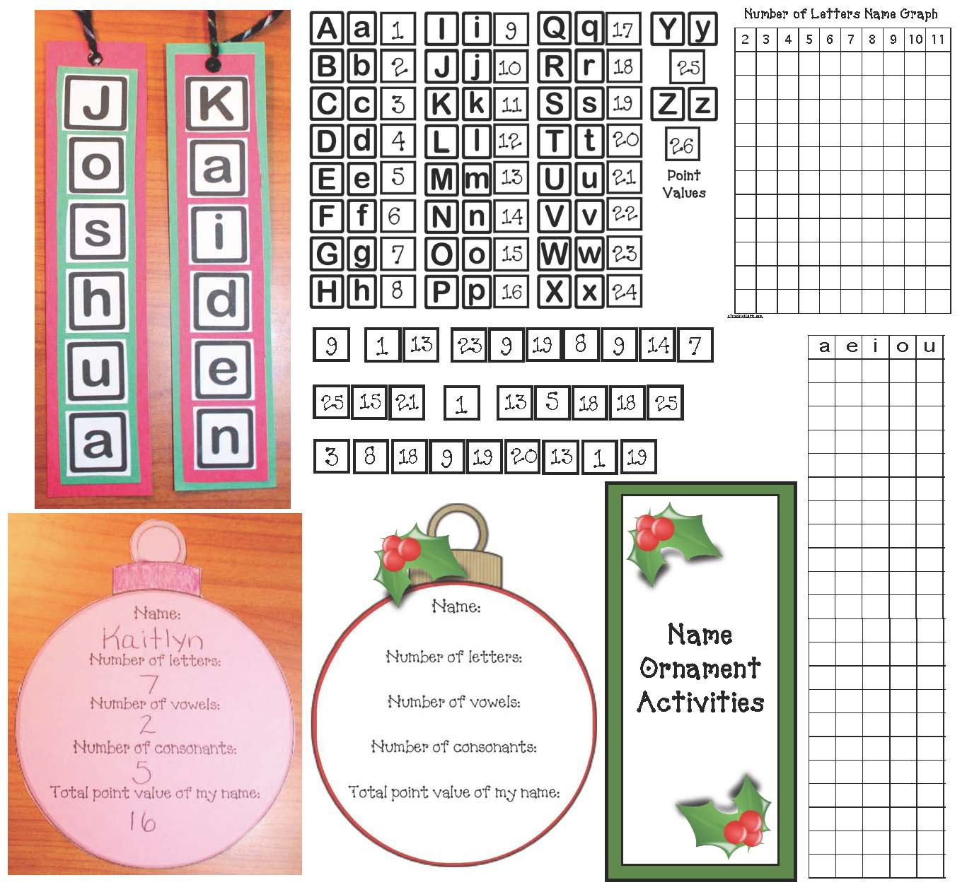 keepsake ornaments, christmas ornaments, christmas crafts, christmas games, christmas activities, name activities, vowel activities,