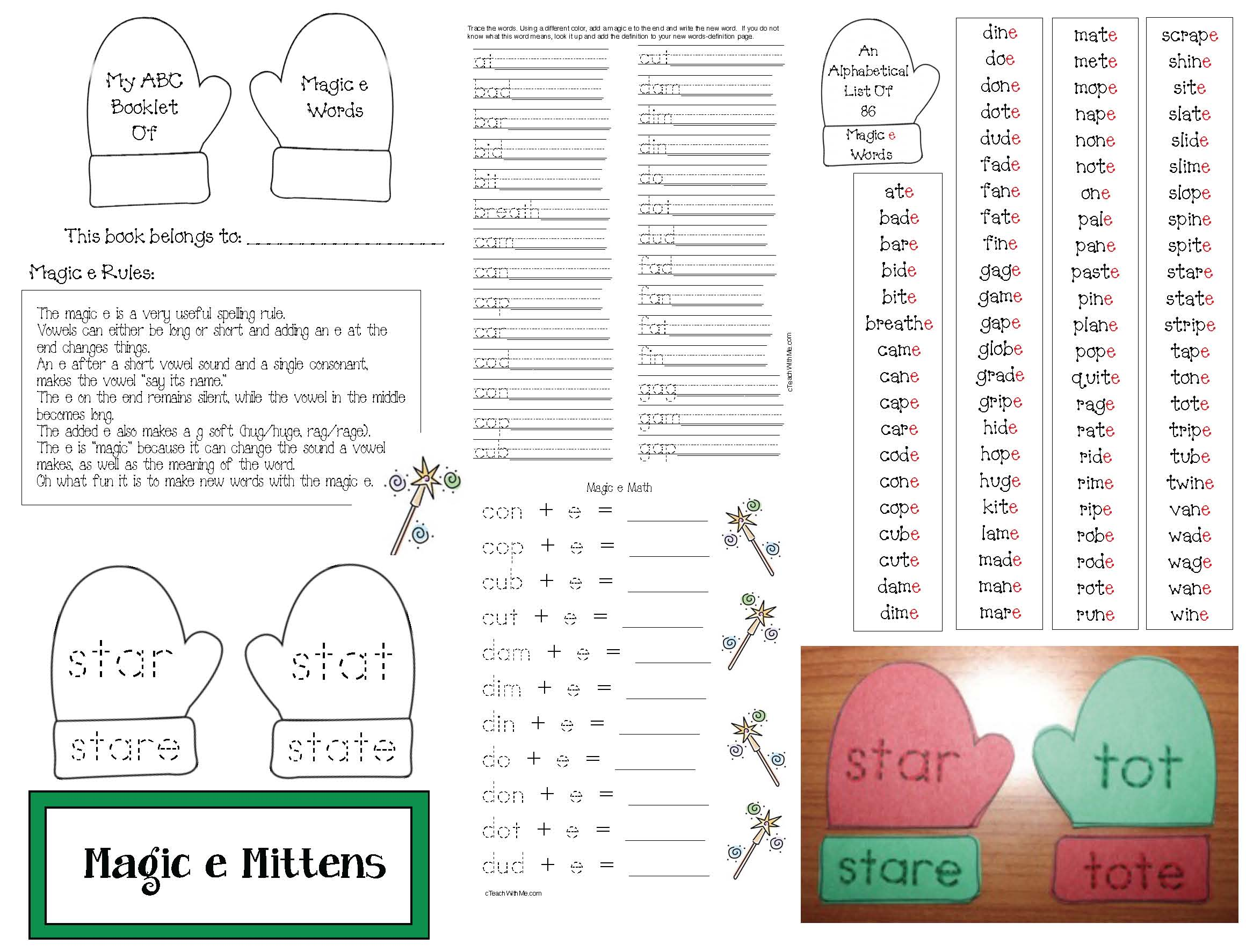 graphic organizers, mitten themed graphic organizers, mitten crafts, mitten activities, magic e activities, silent e activities, list of silent e activies, magic e poster, magic e rules, silent e rules, adjective activities, verb activities, mitten themed writing,