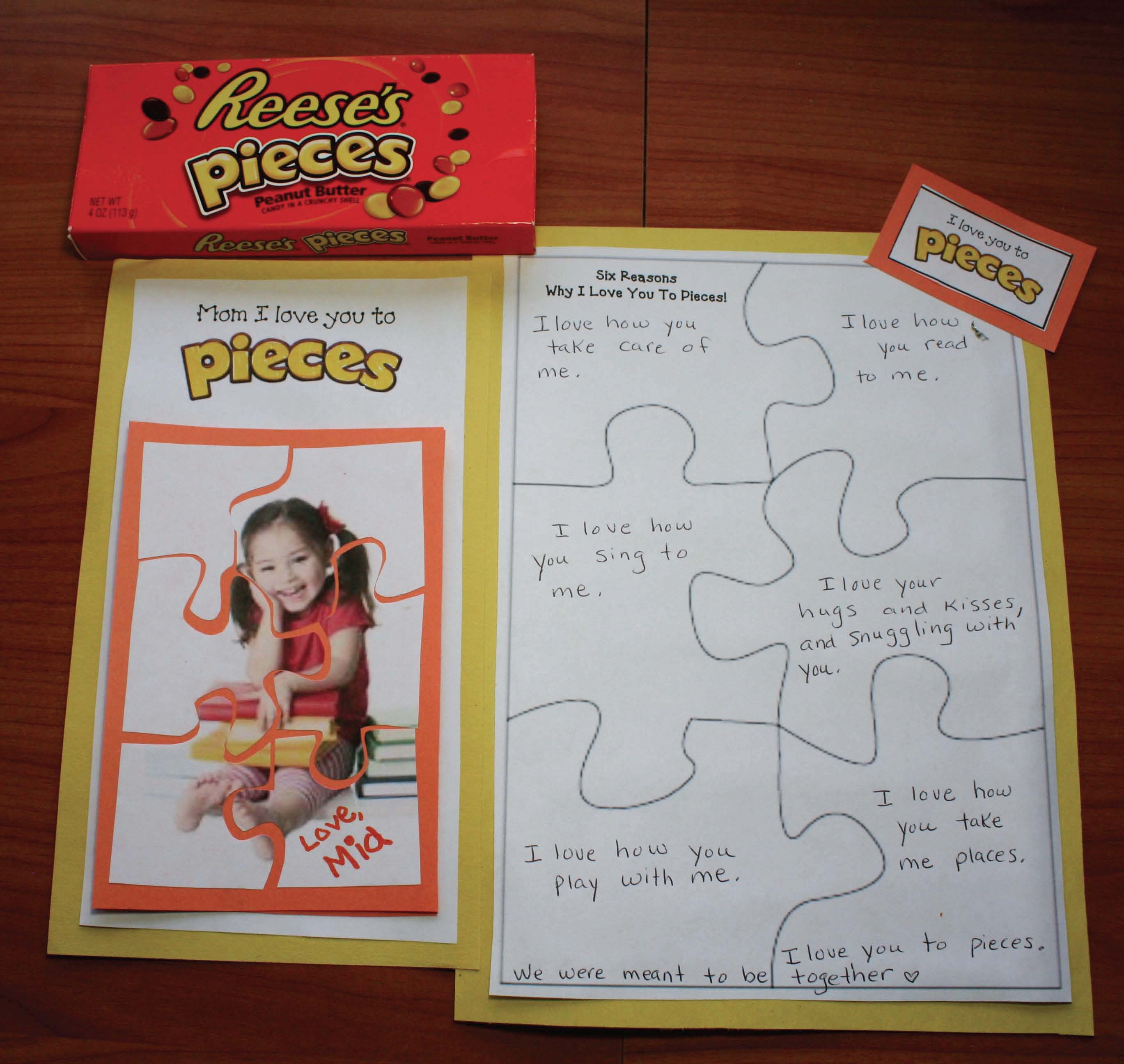 reeses pieces activities, i love you to pieces, puzzle activities, puzzle crafts, end of the year gifts for kids, mother's day activities, ideas for gifts for mothers day, mothers day cards, mothers day activities, mothers day crafts, fathers day activities, fathers day crafts, fathers day gifts, grandparents day activities, grandparents day crafts, grandparents day cards,