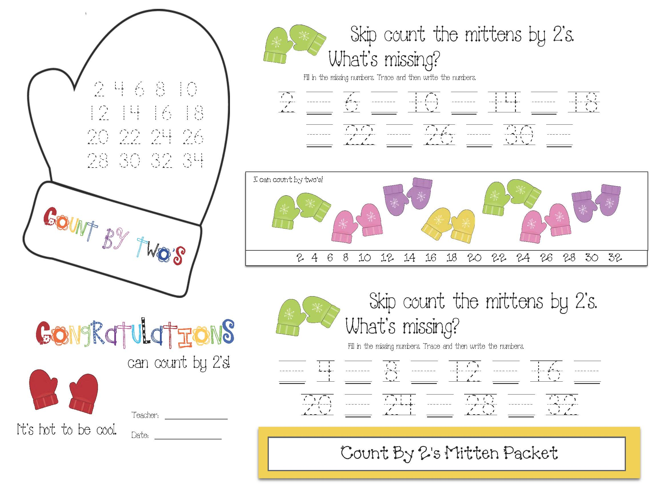 mitten activities, mitten crafts, mitten 10 frames, 10 frame activities, place value activities, mitten number cards, number word activities, count by 2s activities, things that come in pairs,