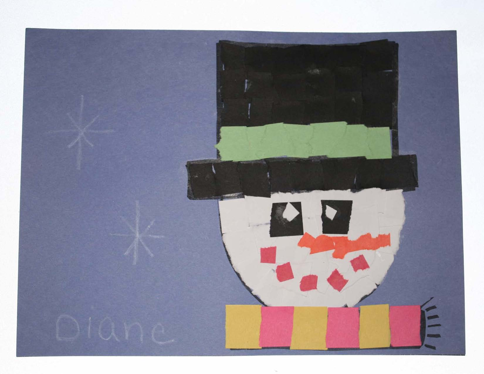 snowman crafts, snowman activities, snowman bulletin boards, rip and tear activities, recycled art, recycled craft projects, december bulletin boards, january bulletin boards, snowman bulletin boards, name snowmen, name activities, name crafts