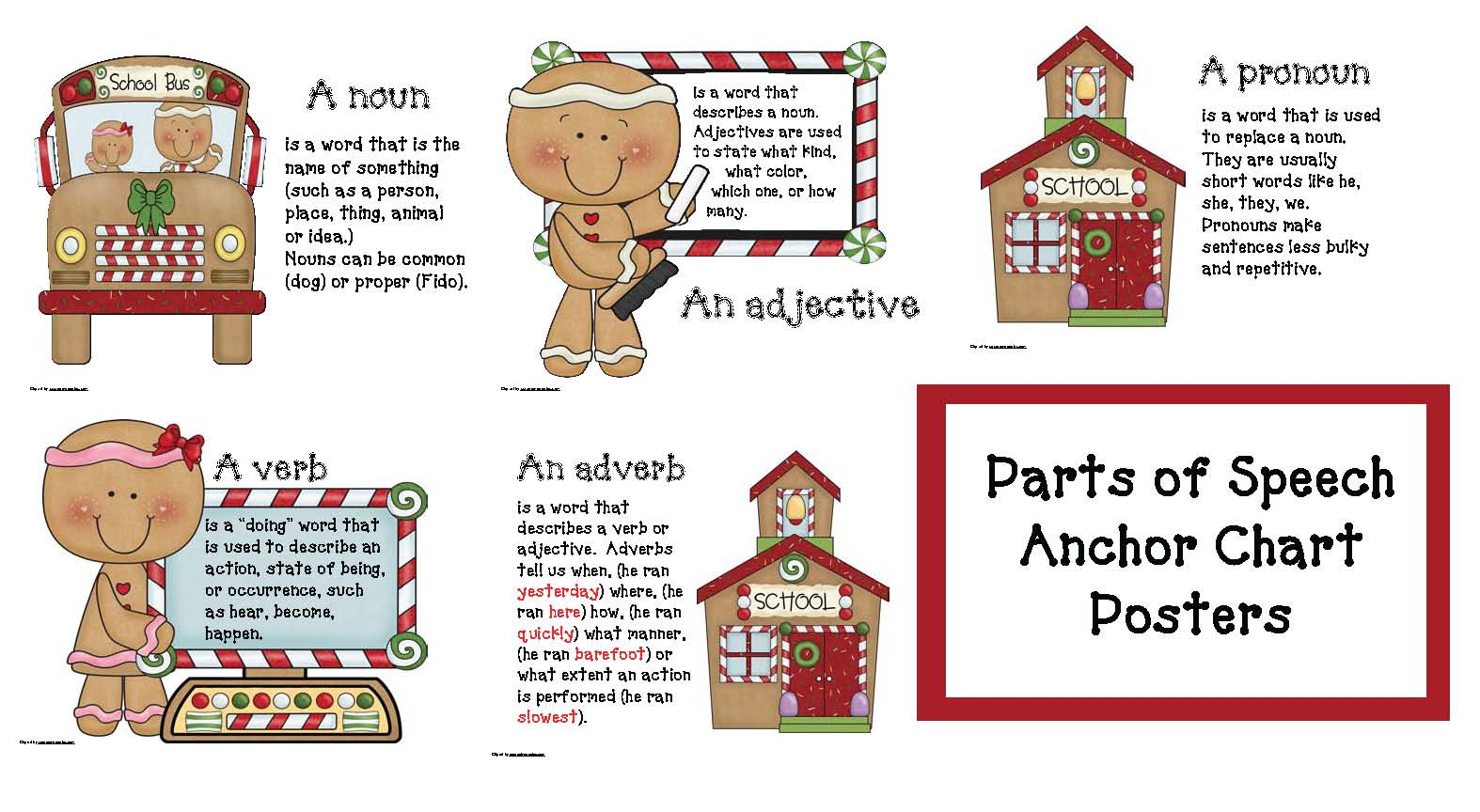 gingerbread activities, gingerbread crafts, gingerbread house activities, december bulletin boards, december bulletin board ideas, gingerbread man class book, parts of speech activities, verb activities, adjective activities, parts of speech posters, free parts of speech anchor charts, December class made books, making a class book
