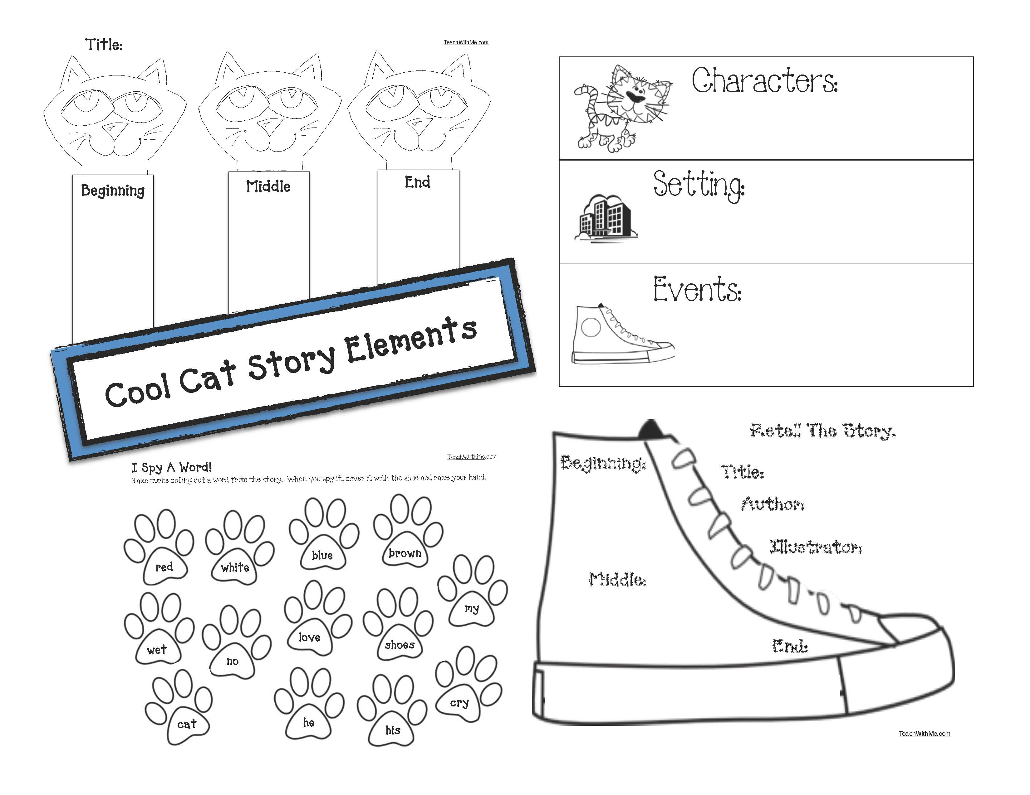 pete the cat activities, story elements for pete the cat, story elements activities, graphic organizers, pete the cat crafts, cat crafts, retelling a story activities, sequencing pete the cat, color activities, color word activities, graphing shoe color, venn diagram templates, venn diagrams for pete the cat,