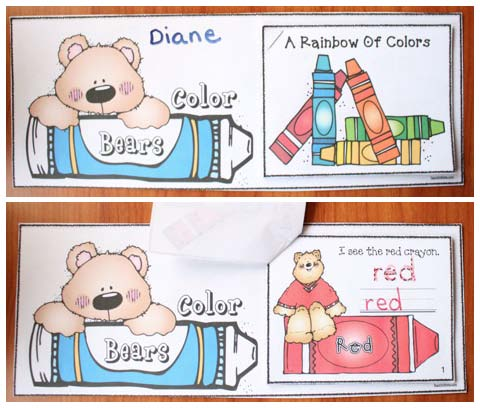 color activities, color booklet, emergent readers, emergent color book reader, color games, color flashcards, color posters