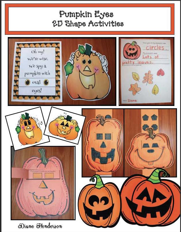 pumpkin crafts, pumpkin activities, 2D shape crafts, 2D shape activities, Hexagon activities, 2D shape games, pumpkin games, Halloween games, assessing 2D shapes, emergent reader books, Dolch words,