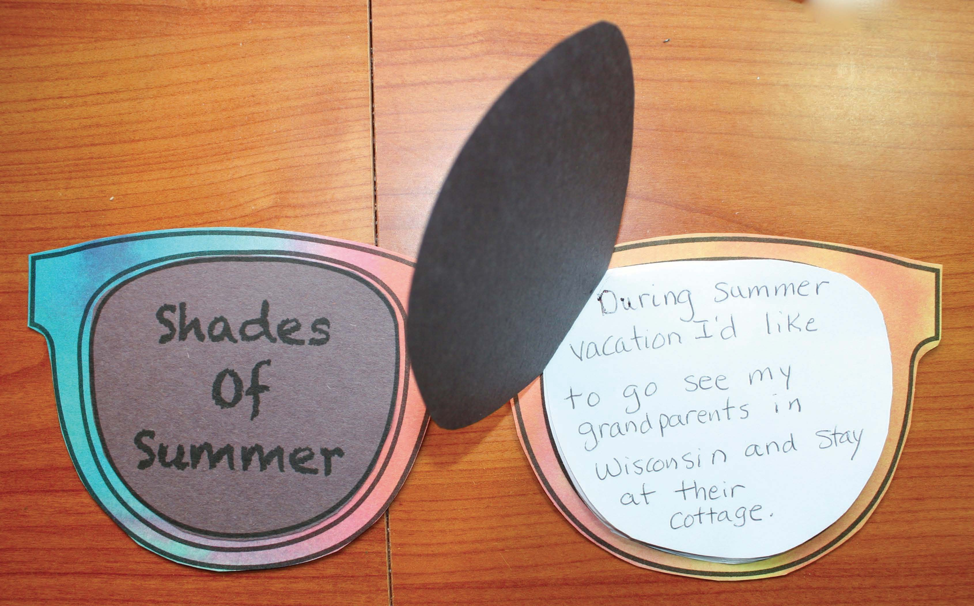 end of the year activities, summer writing prompts, summer crafts, end of the year crafts, end of they year ideas, ideas for the end of the year, sunglasses clip art, sunglasses template, writing prompts for june, daily 5 for the end of the year,