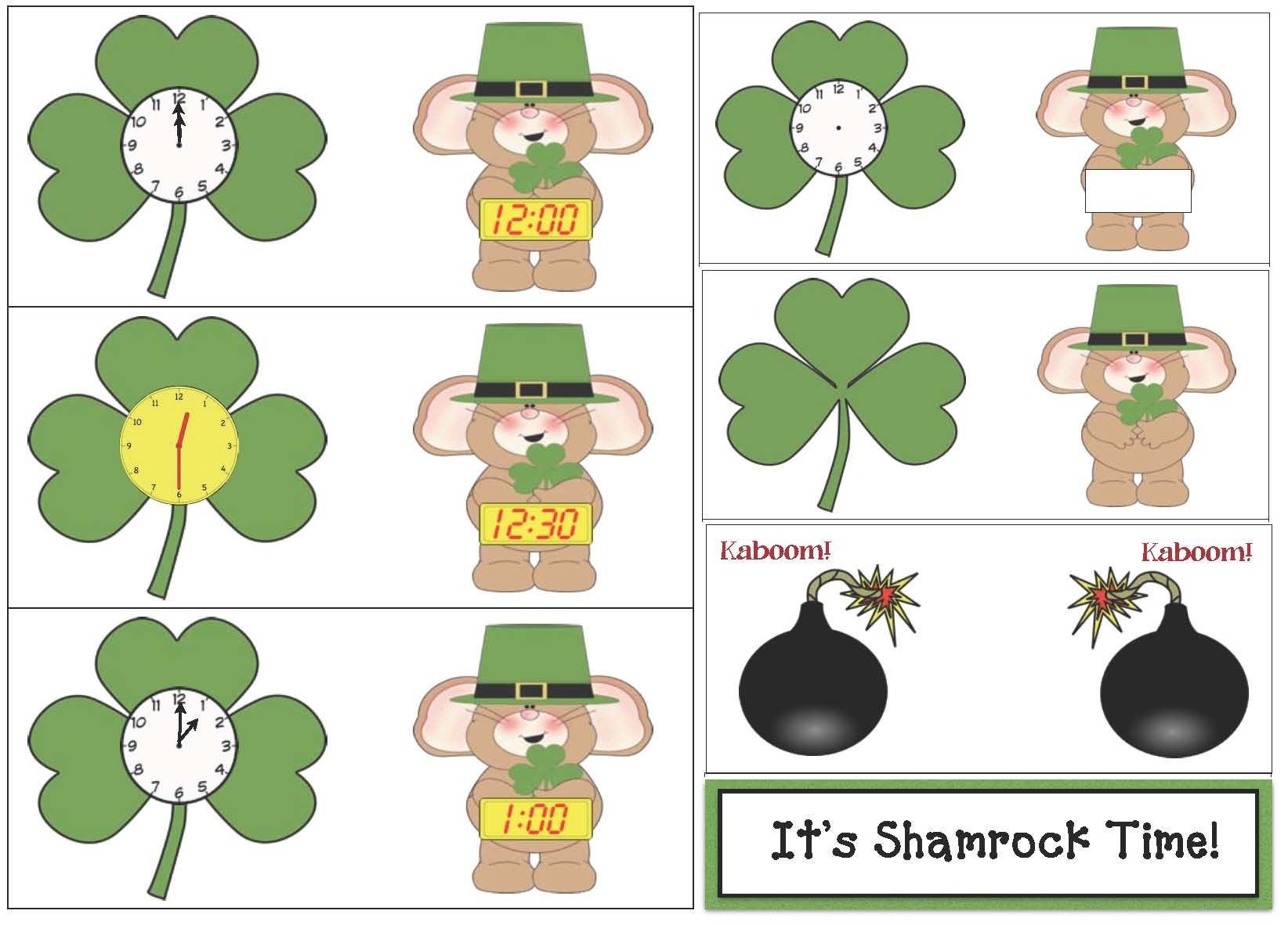 shamrock activities, shamrock clock, clock pattern, shamrock telling time cards, telling time activities to the hour, telling time activities to the half hour, digital time activities, analog time activities, 1.MD.s, common core st. patrick's day, st. patty's day clocks, st. patrick's day games, st. patrick's day activities, activities for st. patrick's day for preschool kindergarten and first grade, st. patrick's day centers, st. patrick's day math centers, telling time lessons, telling time to the hour lessons, telling time certificates, elling time games,