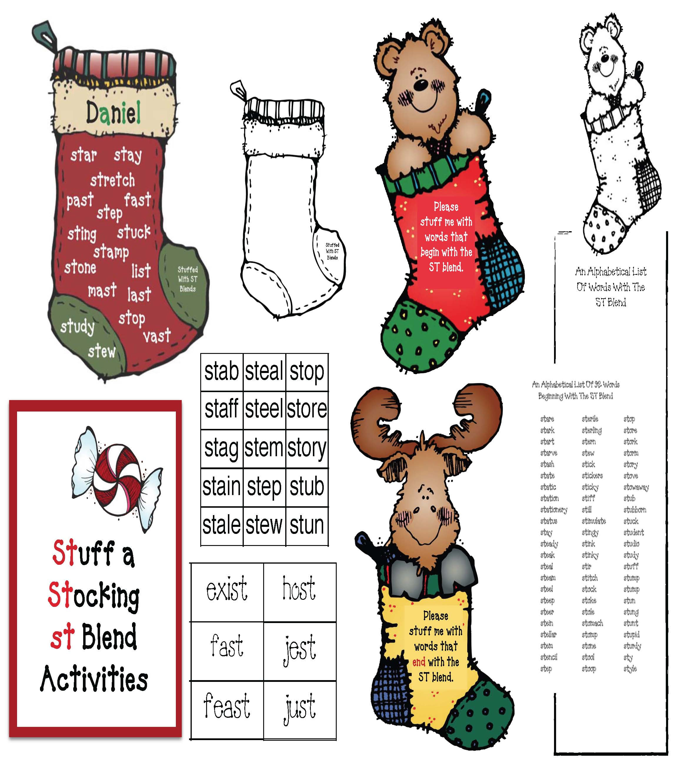 blends, phonemes, digraphs, st blend, activities for the st blend, list of words that begin with st, list of words that end with st, stocking crafts, Christmas games, word games, daily 5 activities, daily 5 word work, word games, daily 5 activities for december