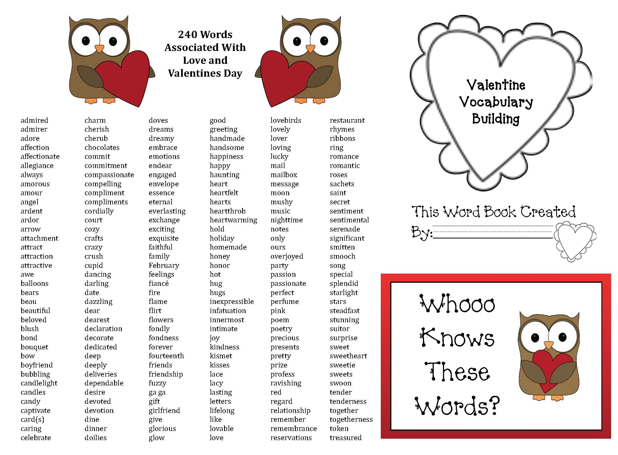 valentine vocabulary words, 240 words associated with love and valentines day, valentine venn diagrams, daily 5 activities, daily 5 activities for february, daily 5 word work activities, valentines day activities, valentines day puzzles, heart crafts, heart activities, valentine games, valentine centers, venn diagram activities, valentine crafts, valentines, valentine cards, telling time activities, telling time activities for valentines day, 1.MD.3, common core state standards for 1st grade, writing prompts for february, writing prompts for valentines day, vocabulary building activities, comparing holidays