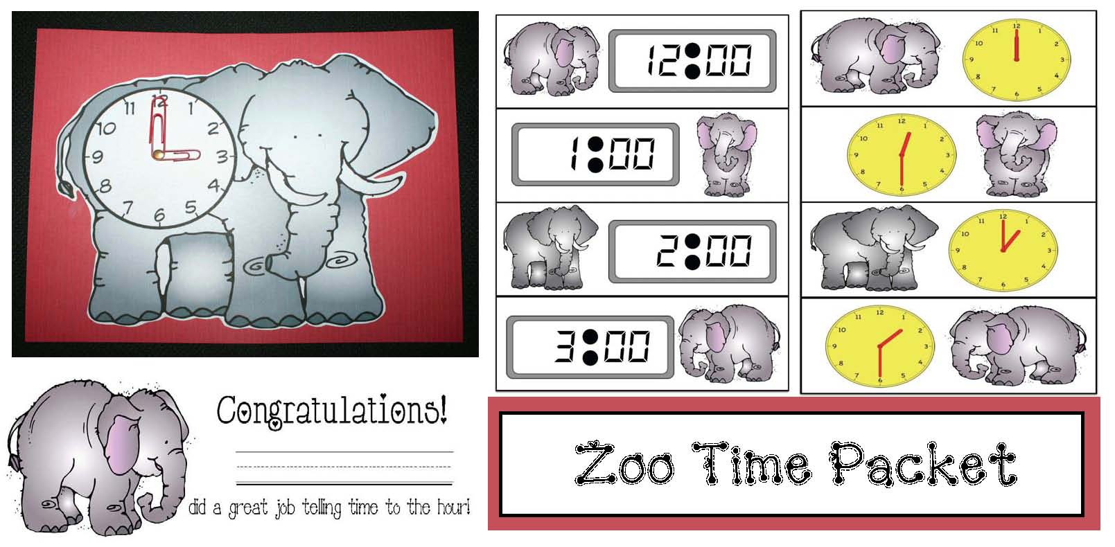 zoo activities, zoo field trip ideas, zoo field trip activities, telling time activities, digital time activities, analog time activies, 1.MD.3, common core state standards math for kindergarten and first grade,