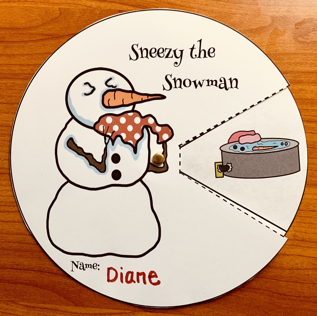 sneezy the snowman storytelling wheel