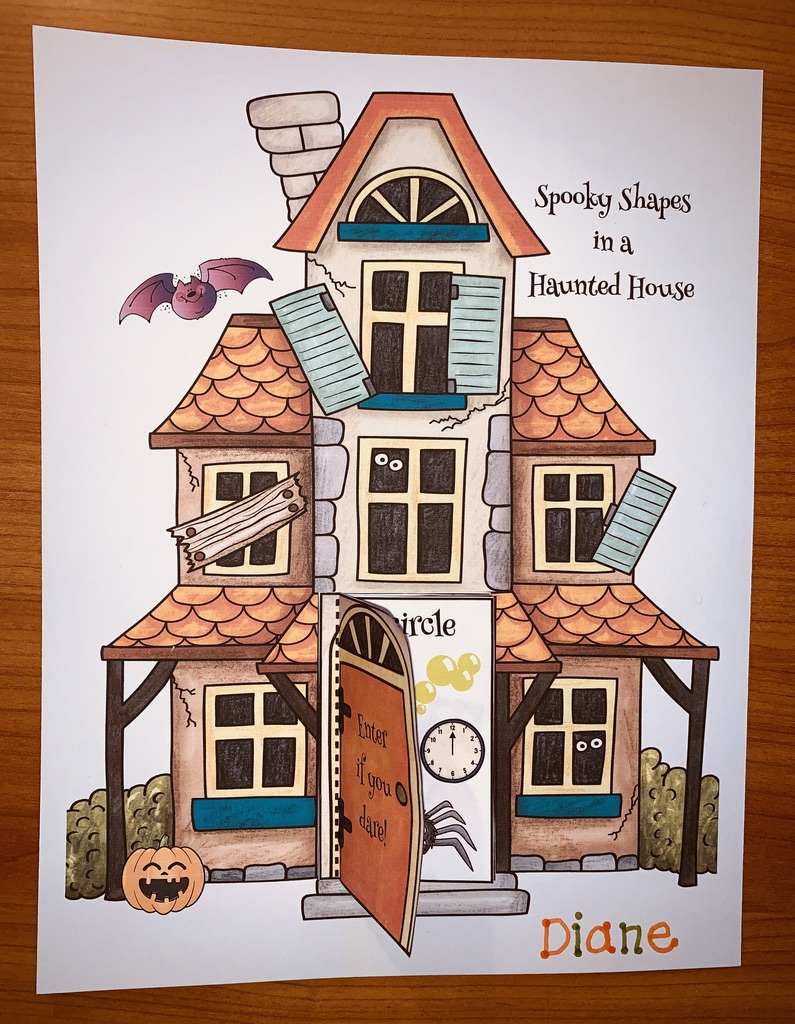 spooky shapes in a haunted house 2D shape booklet, haunted house craft, halloween activities, 2D shape activities, 2D shape crafts, 2D shape centers,