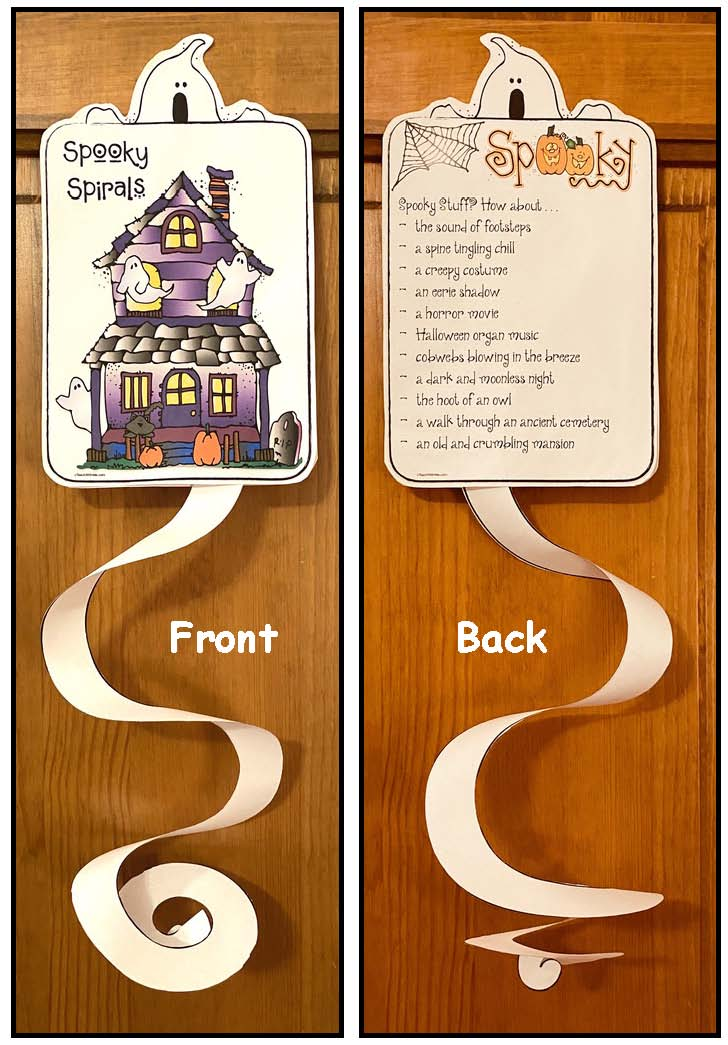 Haunted house writing prompt craft, ghost craft, Halloween activities, Halloween crafts, Halloween decorations, October writing prompts, ghost activities, spiral activities, Spooky Spirals, Halloween posters, Cutting practice