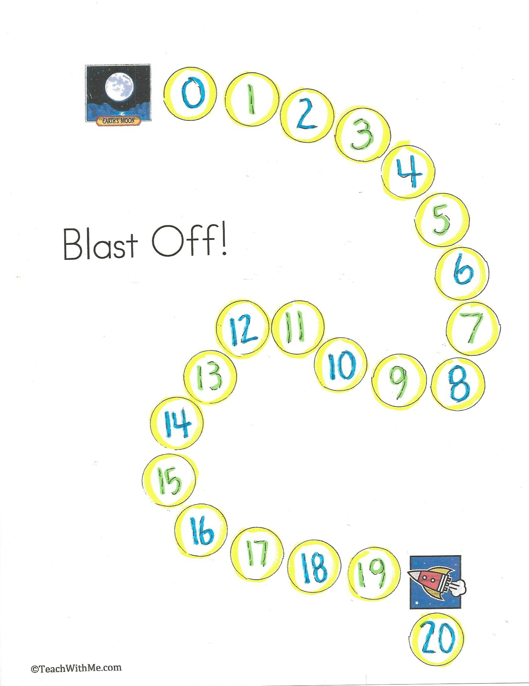 Blast off game, learning to count backwards, counting backwards from 20 to 0, counting backwards from 10 to 0, blast off activities, blast off ideas, blast off lessons, blast off booklet,