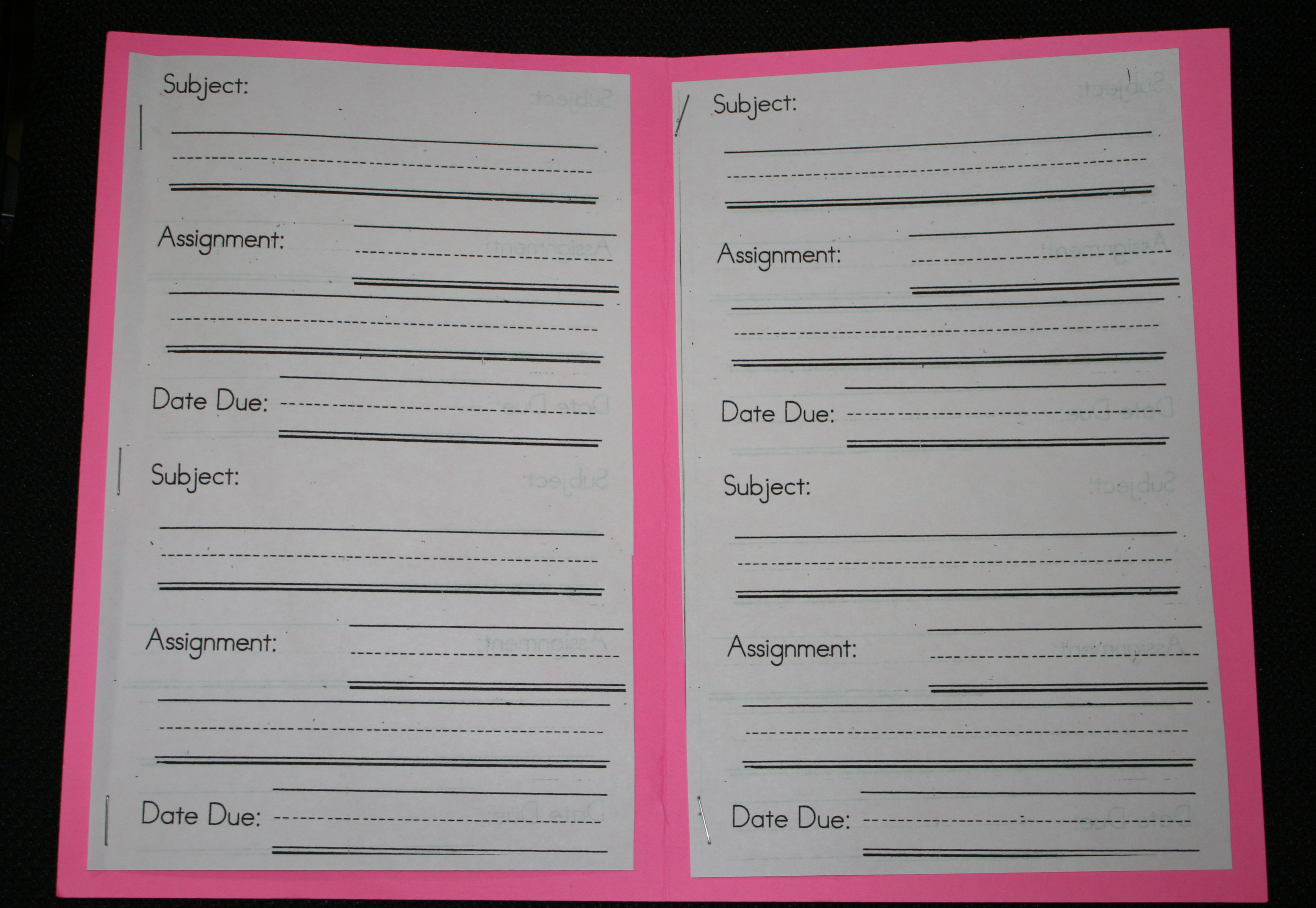 assignment booklet, back to school ideas