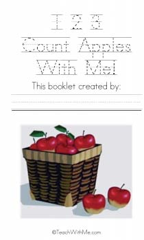 counting apples, making class books, students booklets, keepsake booklets,