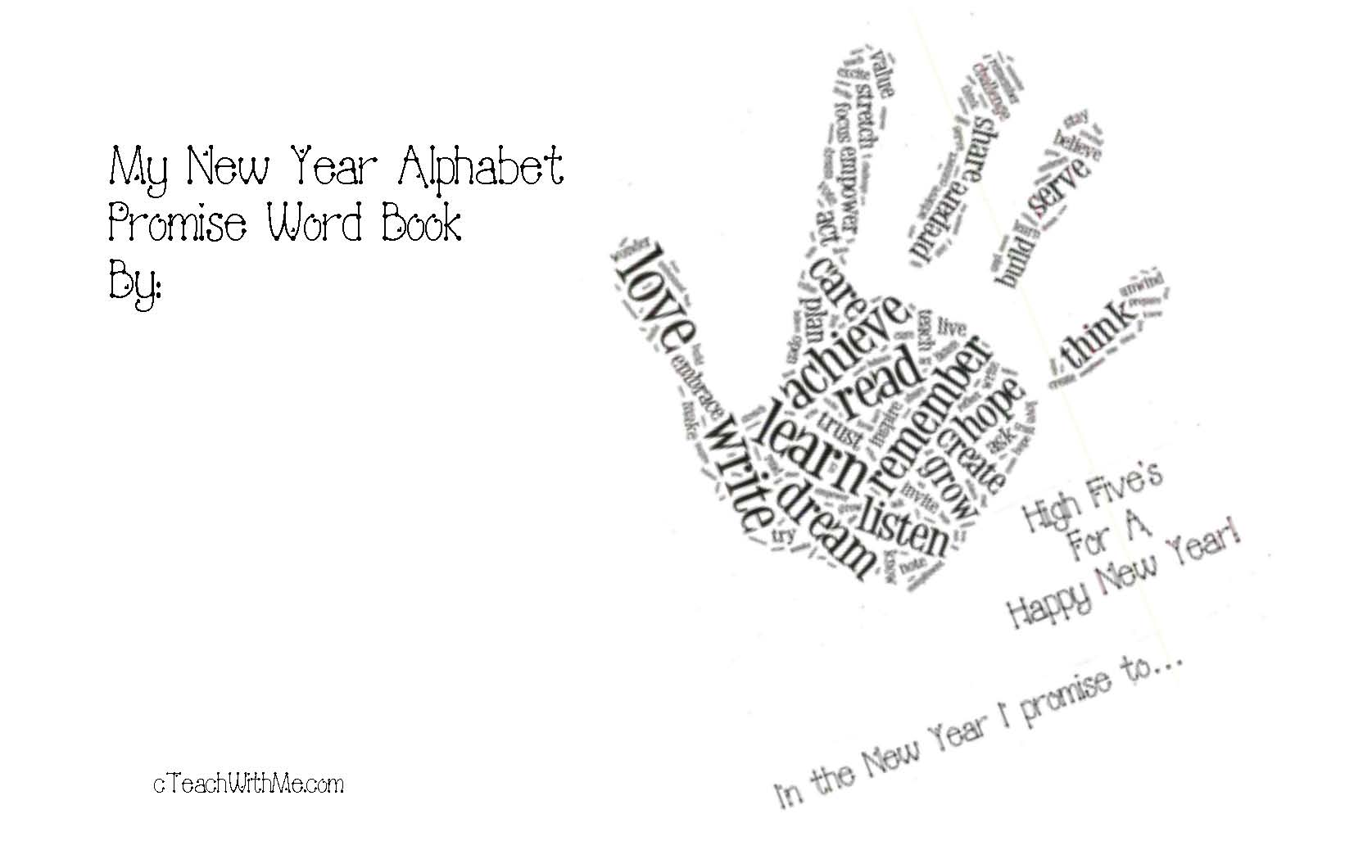 word art, New Year's lessons, New Year writing prompts, January writing prompts, January bulletin board ideas, Daily 5 activities for January, Daily 5 word work activities, verb activities, free posters for the classroom, verbs, alphabetizing activities, New Year's words, resolutions,