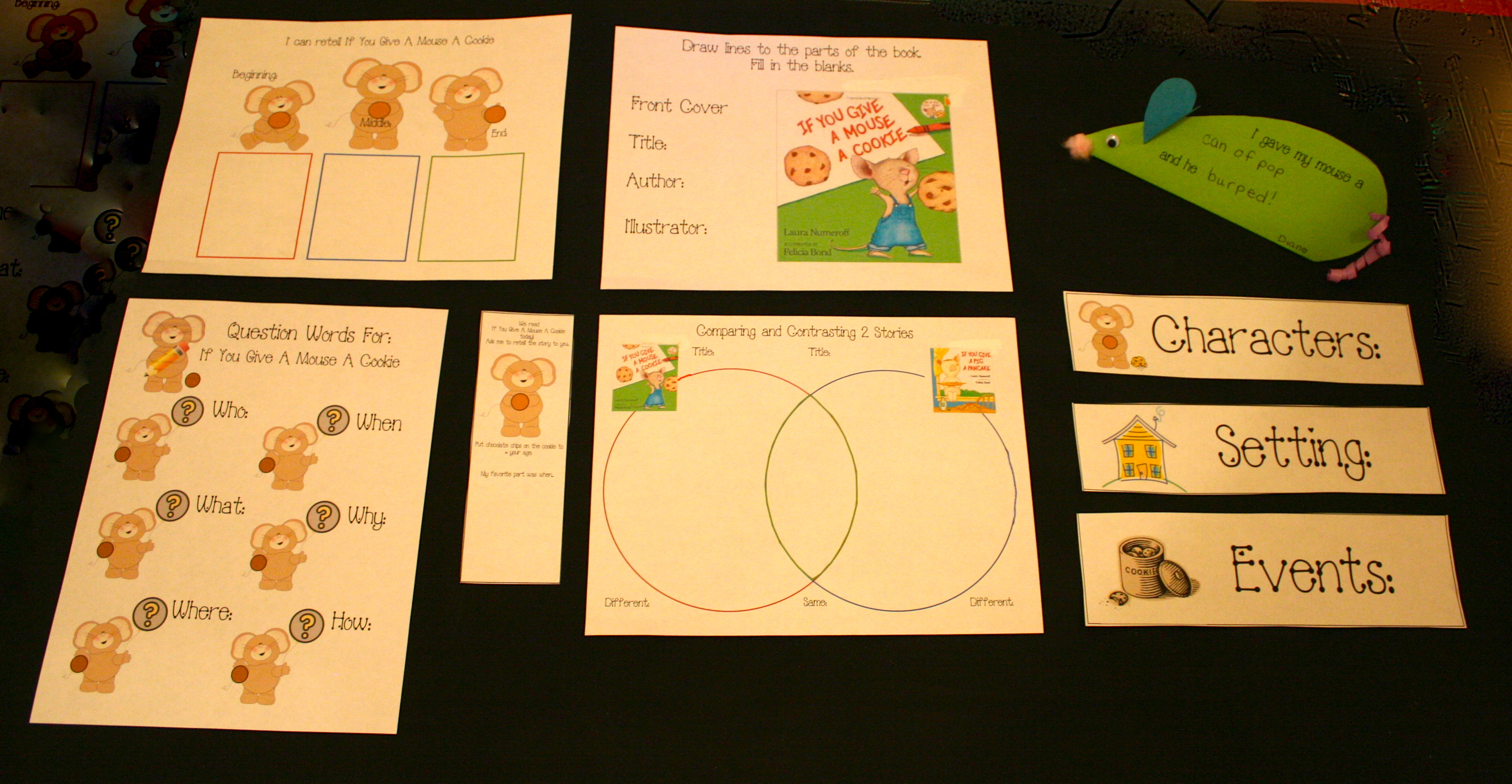 if you give a mouse a cookie activities, if you give a mouse a cookie lessons, if you give a mouse a cookie ideas, lessons for the first week of school, writing prompts for september, daily 5 activities for september, mouse activities, mouse crafts, mouse art projects, if you give a pig a pancake activities, kindergarten common core lessons, kindergarten common core activities, 1st grade common core lessons, 1st grade common core activities, comparison lessons, comparison activities, venn diagram activities, venn diagram template, comparing stories with a venn diagram,