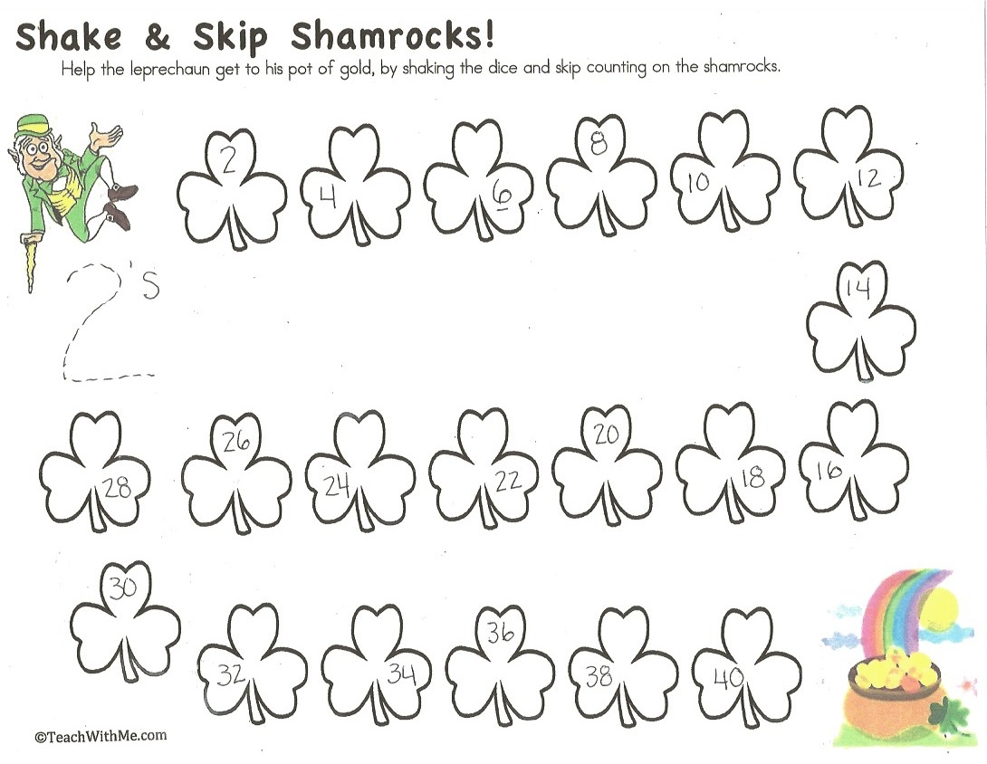 shamrock activities, coin games, coin centers, coin activities, shamrock activirties for preschool kindergarten and first grade, shamrock games, shamrock math games, shamrock centers, activities for st. patrick's day, activities for st. patrick's day for preschool kindergarten and first grade, st. patrick's day games, skip counting games, skip counting activities, activities for skip counting by 2.'s 3's, and 5's, counting games, shamrock certificates,
