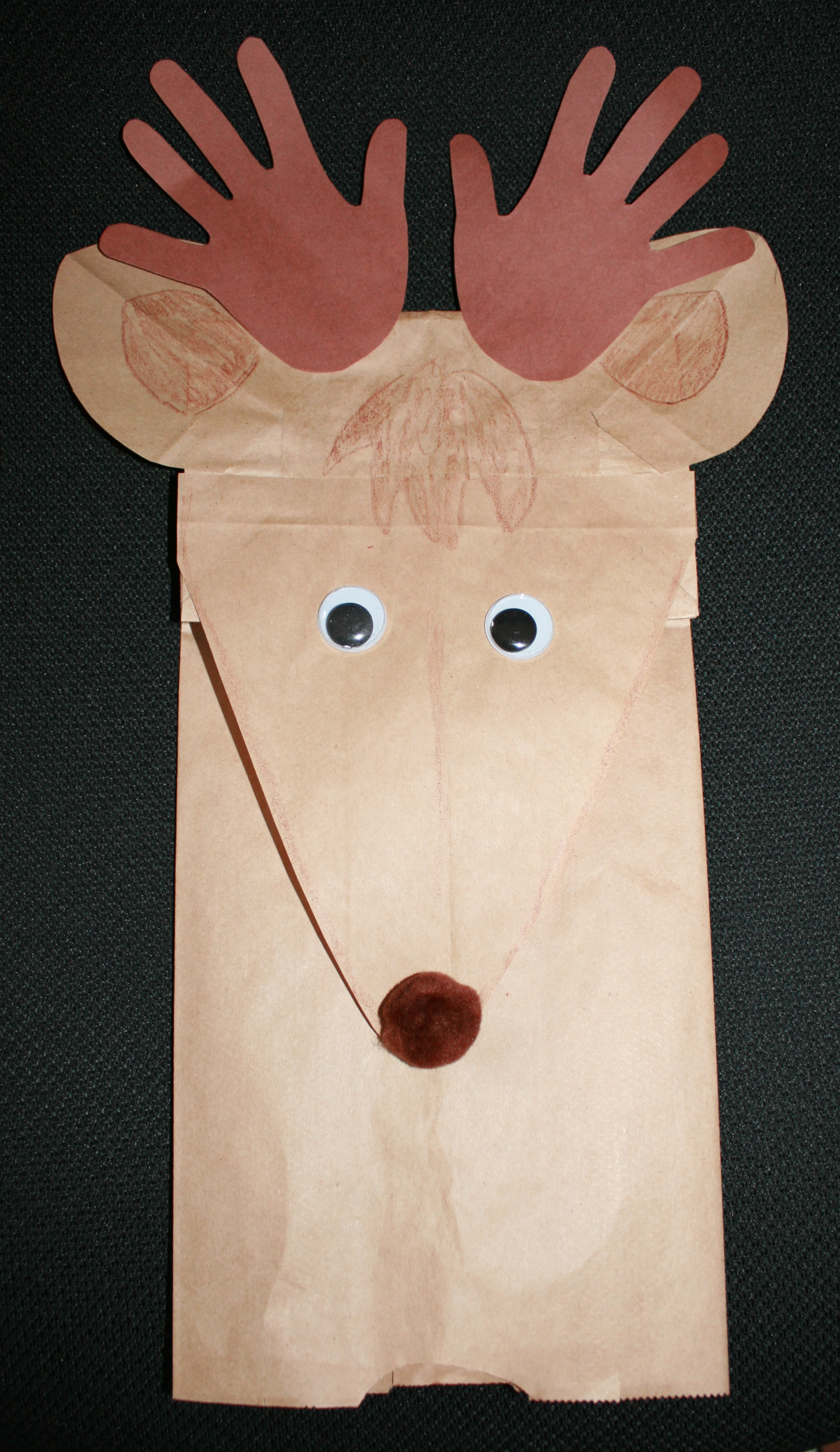 reindeer lunch bag puppet, reindeer handprint lunch bag puppet, lunch bag puppets, handprint art projects,