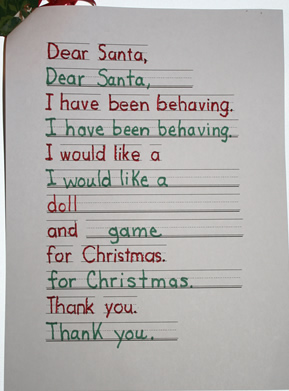 Letter to Santa, Dear Santa, Writing a letter to Santa
