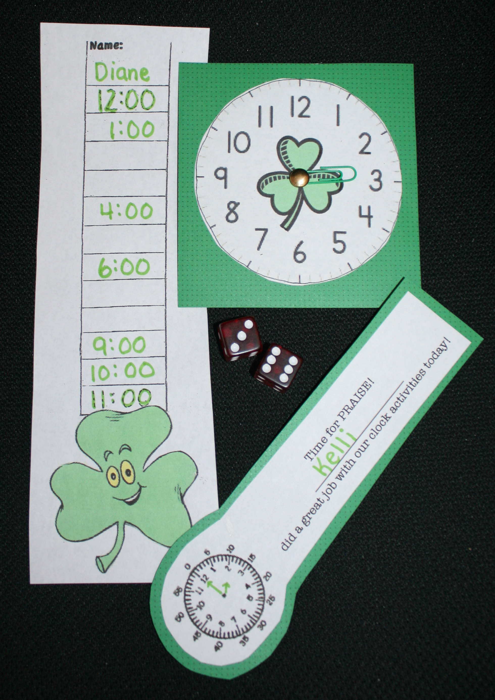 shamrock activities, shamrock clock, clock pattern, st. patrick's day games, st. patrick's day activities, activities for st. patrick's day for preschool kindergarten and first grade, st. patrick's day centers, st. patrick's day math centers, telling time lessons, telling time to the hour lessons, telling time certificates, elling time games,