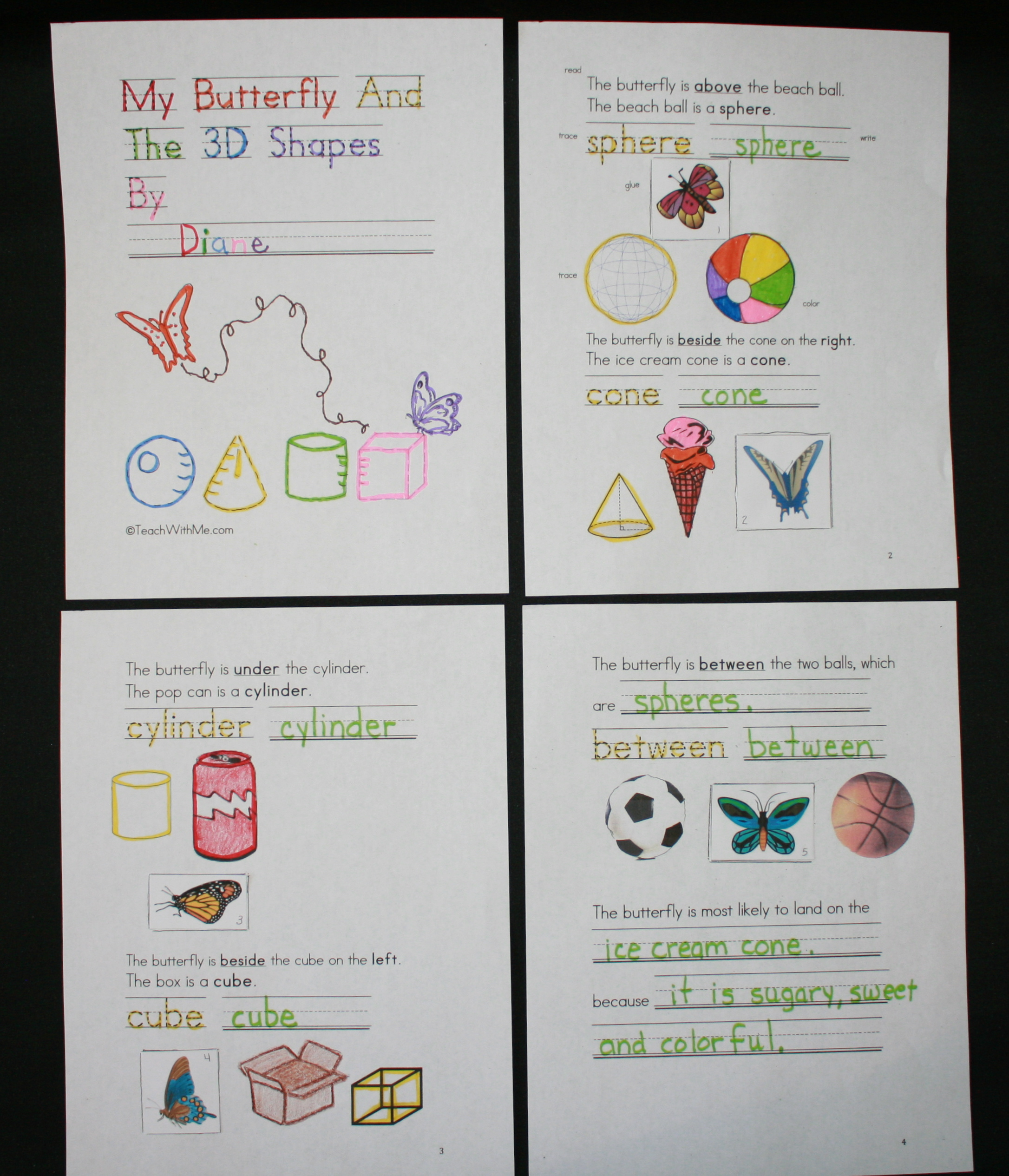 3D shapes, butterfly activities, butterfly lessons, common core butterflies, spatial directions, daily 5 activities for April, word work for April, free common core for kindergarten and 1st grade,