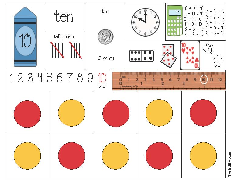 free common core lessons for kindergarten and first grade, math posters, math anchor charts, number words, tally marks, coins, penny, nickel, dime activities, coin posters, clock posters, telling time to the hour, fact families, fraction posters, sequencing, ordinal numbers, ten-frames, ten frame template, measuring with a ruler, greater and less than, puzzles, math centers, math games, memory match math games,