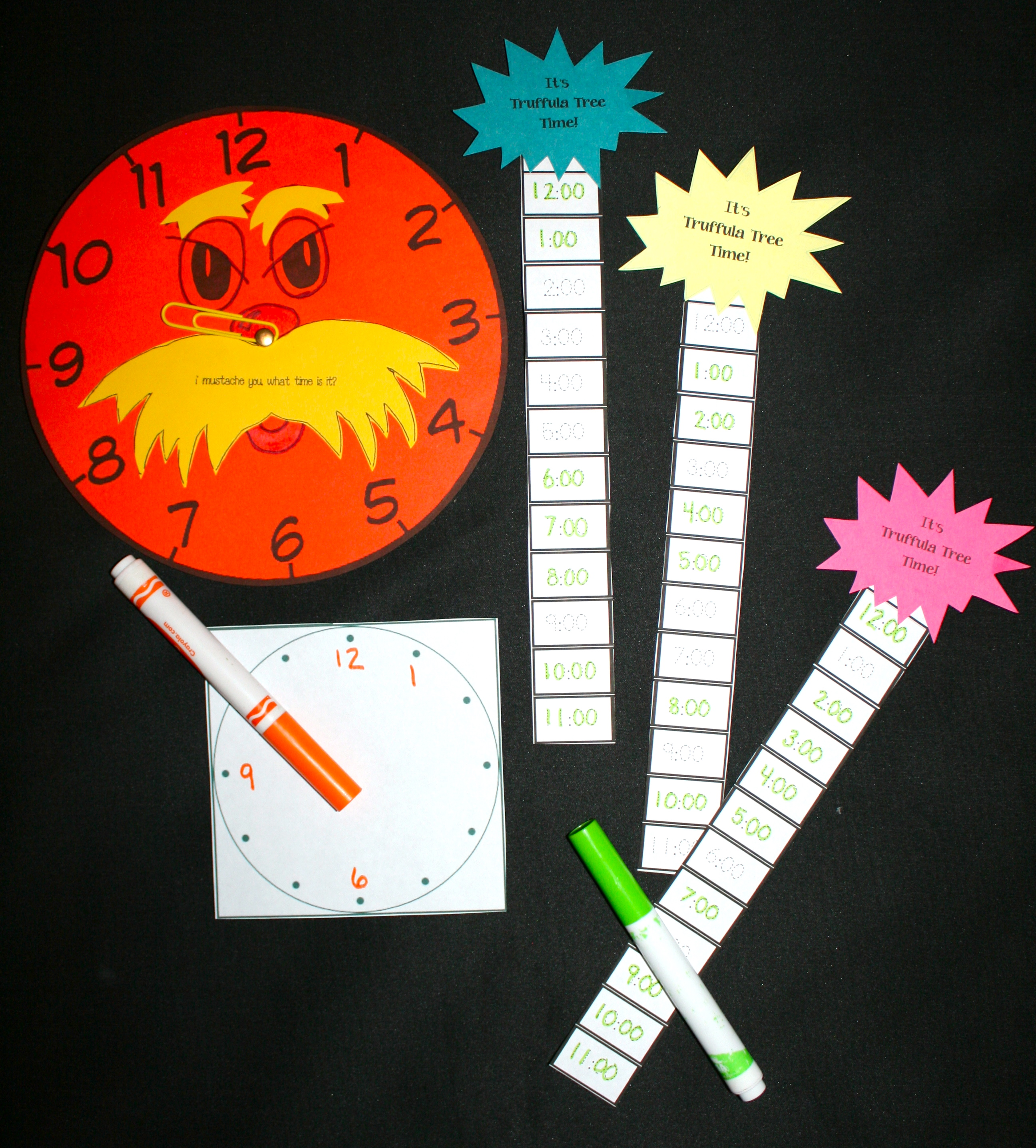 seuss activities, seuss lessons, lorax activities, lorax lessons, writing prompts for seuss, writing prompts for lorax, writing prompts for march,  , lorax mustache template, spring bulletin boards, march bulletin boards, seuss bulletin boards, truffula pencils, truffula trees, how to make a truffula tree, shape activities, shape bulletin boards, telling time activities, analog time, digital time, telling time games, 1.MD.3 Lorax crafts, mustache activities