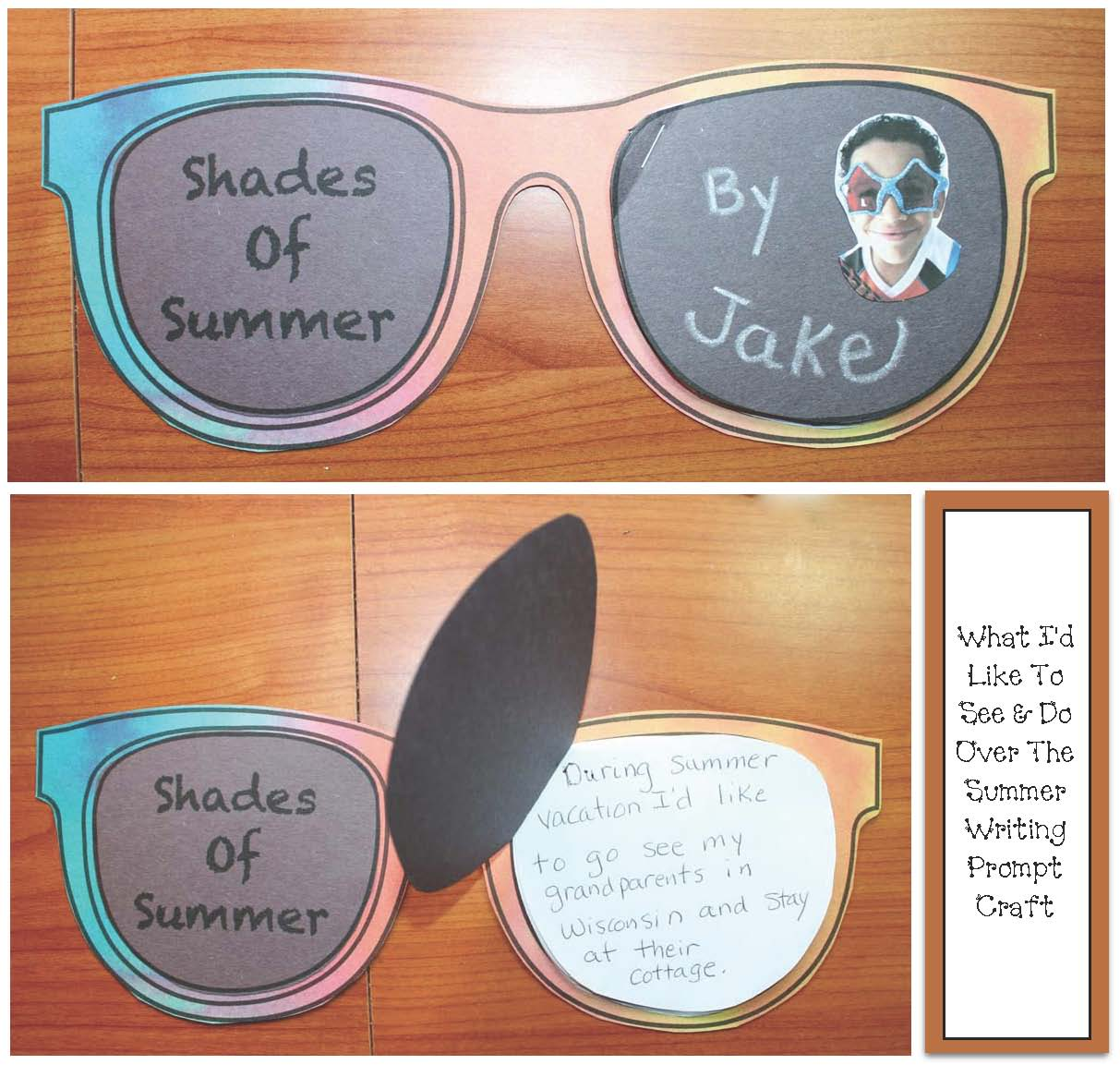 sunglasses craft, summer crafts, summer bulletin board, summer writing prompts, end of the school year activities, end of school writing prompts, summer bulletin boards, activities for ssummer school