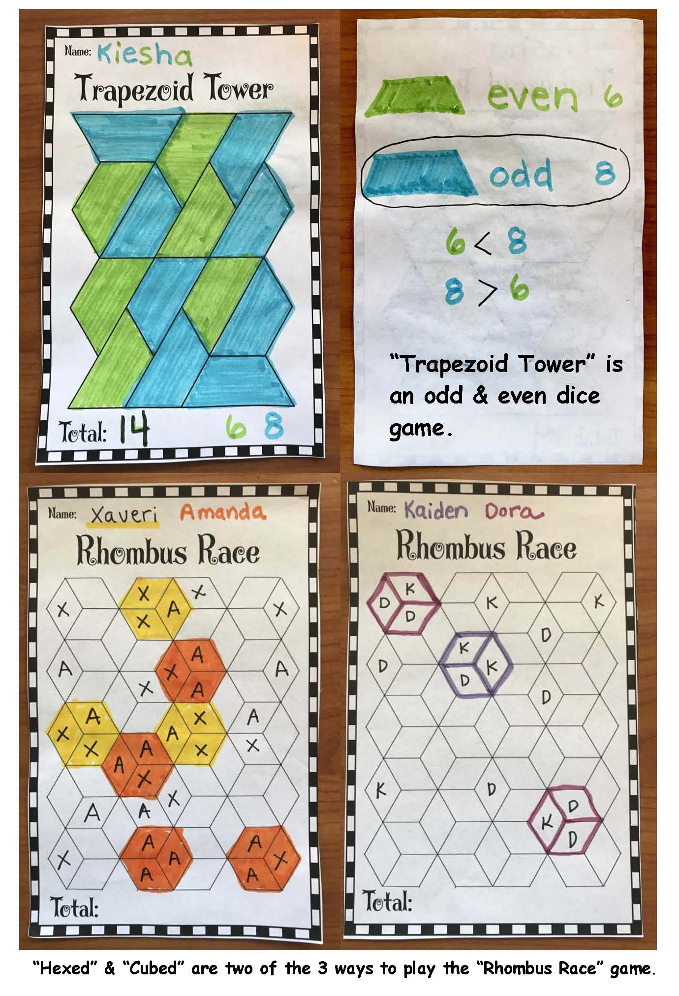 trappezoid tower hexed and cubed pattern block games