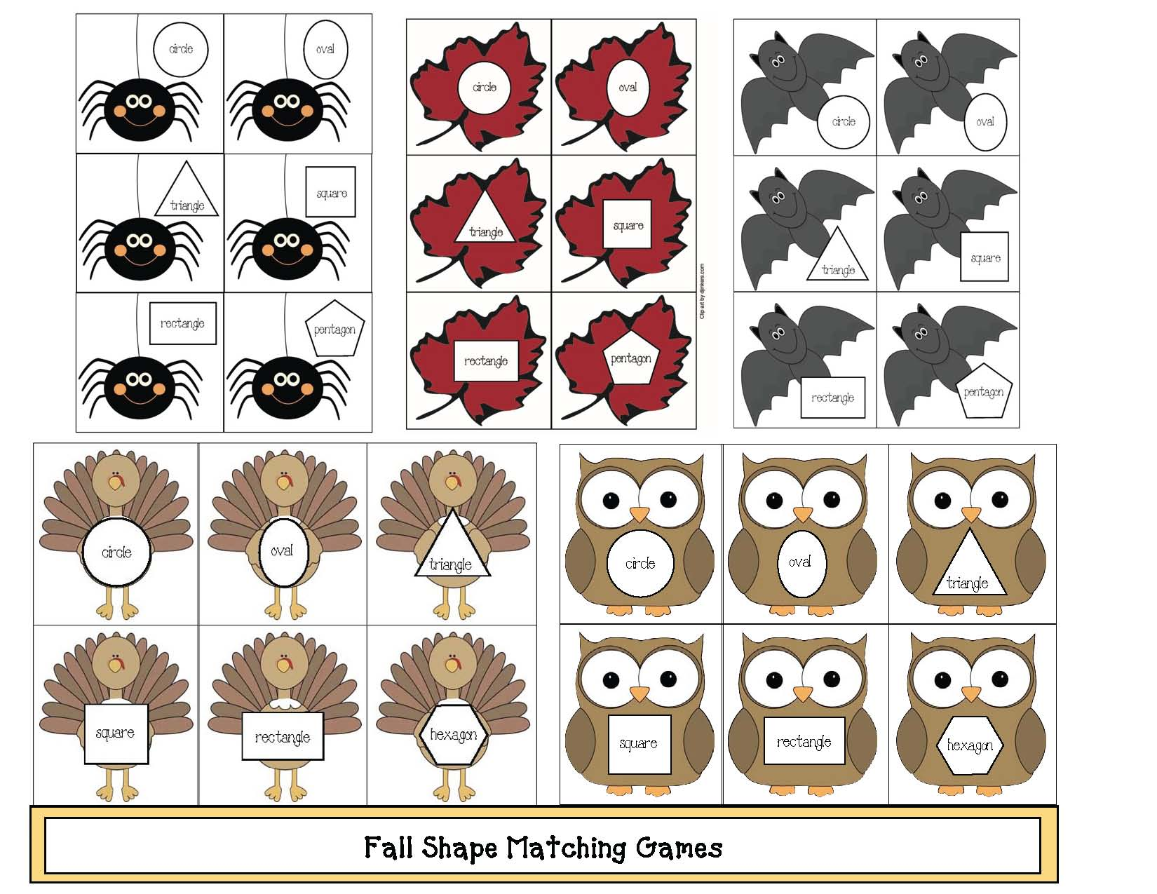 fall centers, fall games, 2D shape activities, 2D shape games, 2D shape centers, spider activities, owl activities, turkey activiites, leaf activities, bat activities