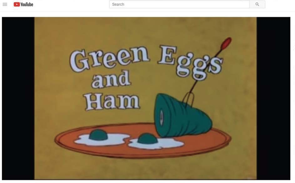 youtube animated musical video of green eggs and ham